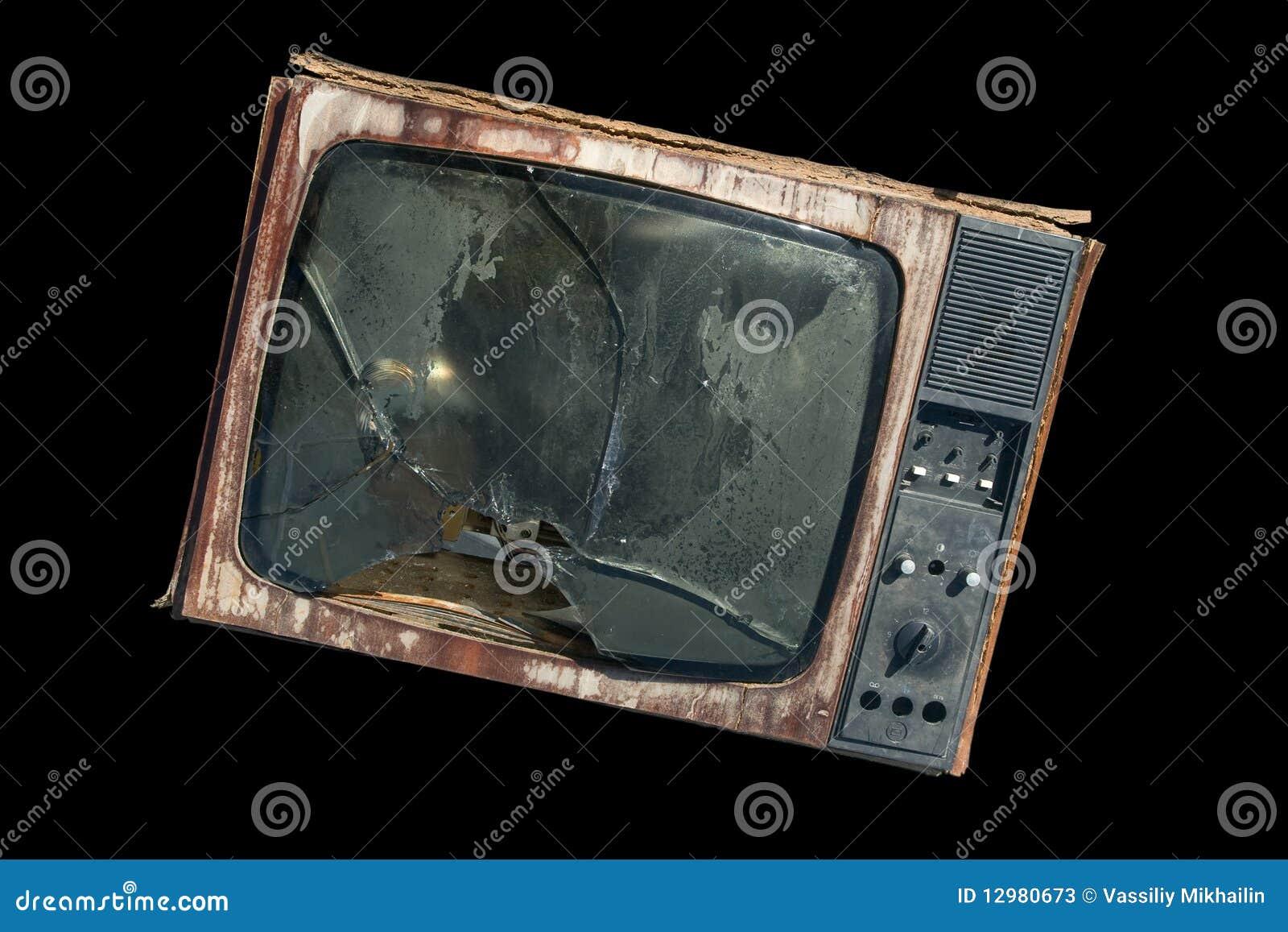 Vecchia TV con uno schermo rotto