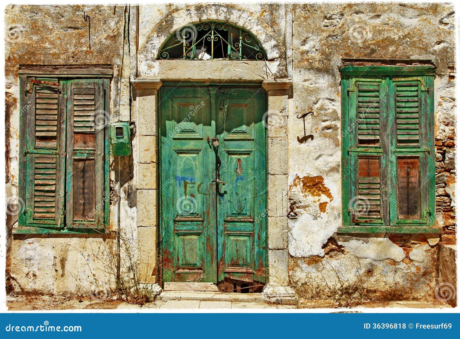 Vecchie porte la grecia fotografie stock libere da for Rivestire porte vecchie
