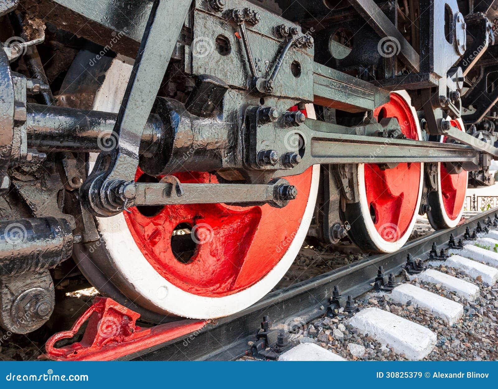 Vecchie ruote del motore della locomotiva a vapore