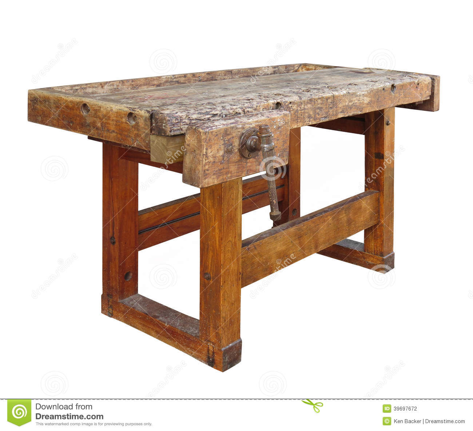 Vecchio banco da lavoro di legno isolato fotografia stock - Banco da lavoro cucina legno ...