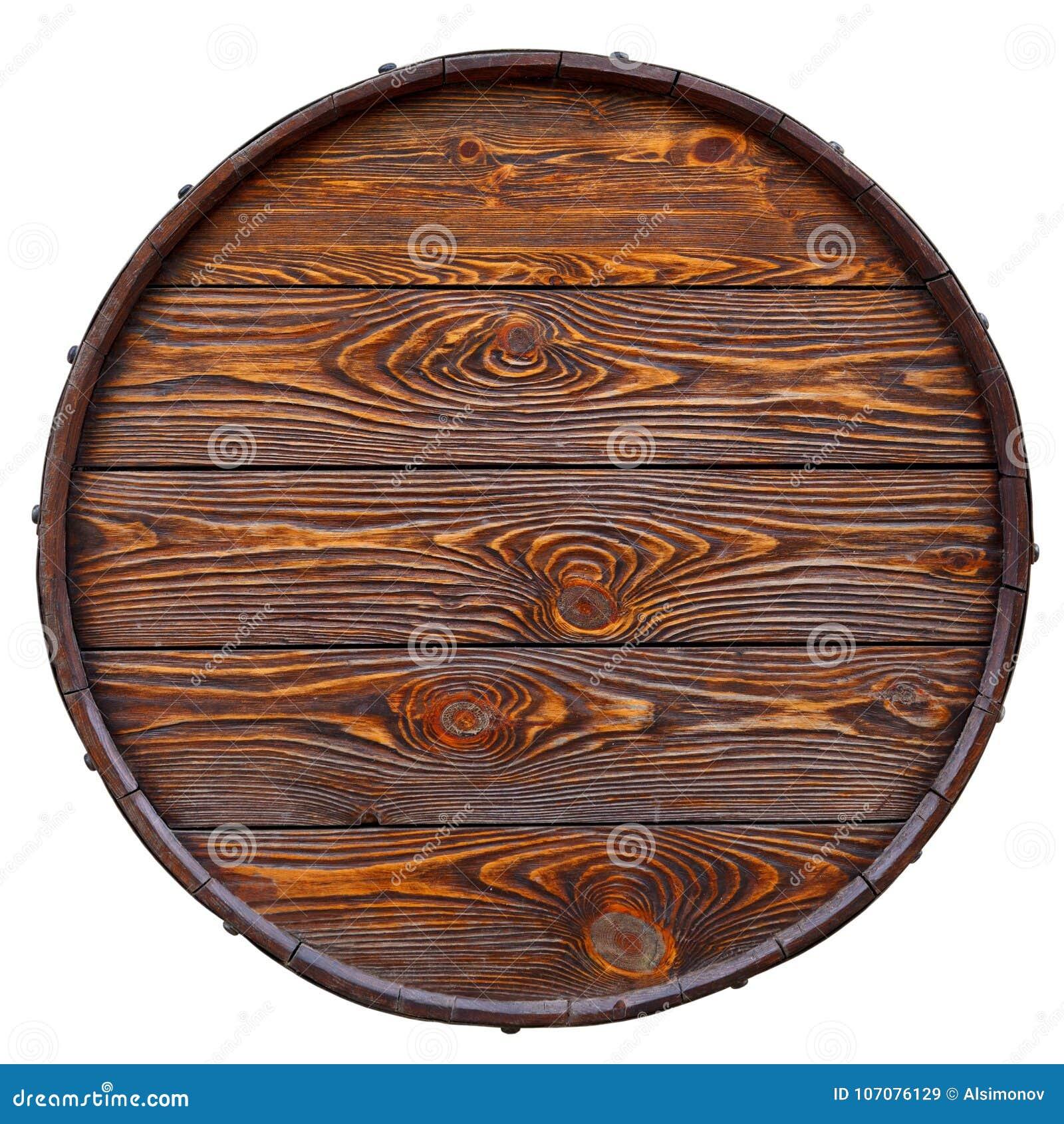 Vecchio barilotto fatto di legno con bella struttura Isolato su bianco