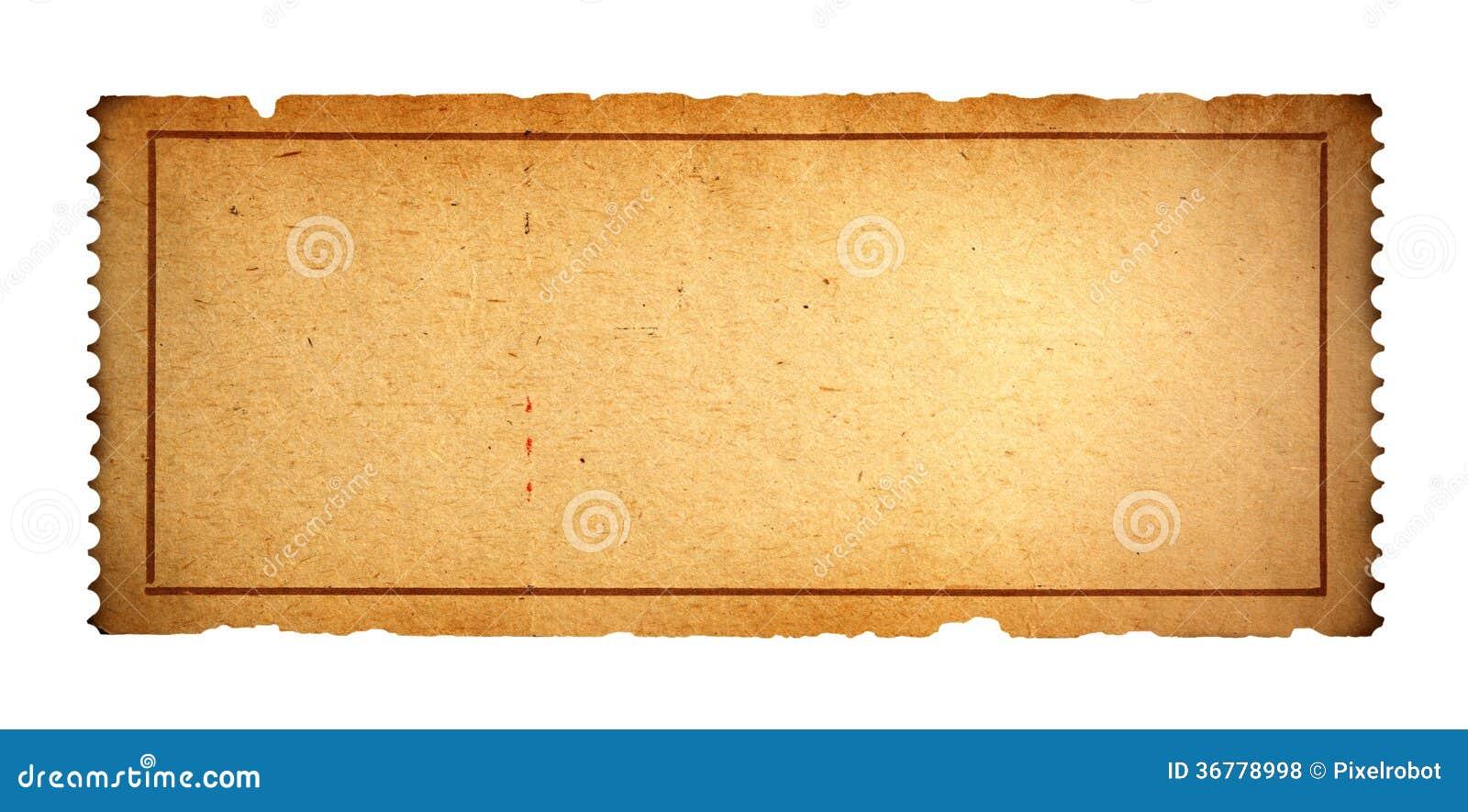 Vecchio biglietto in bianco