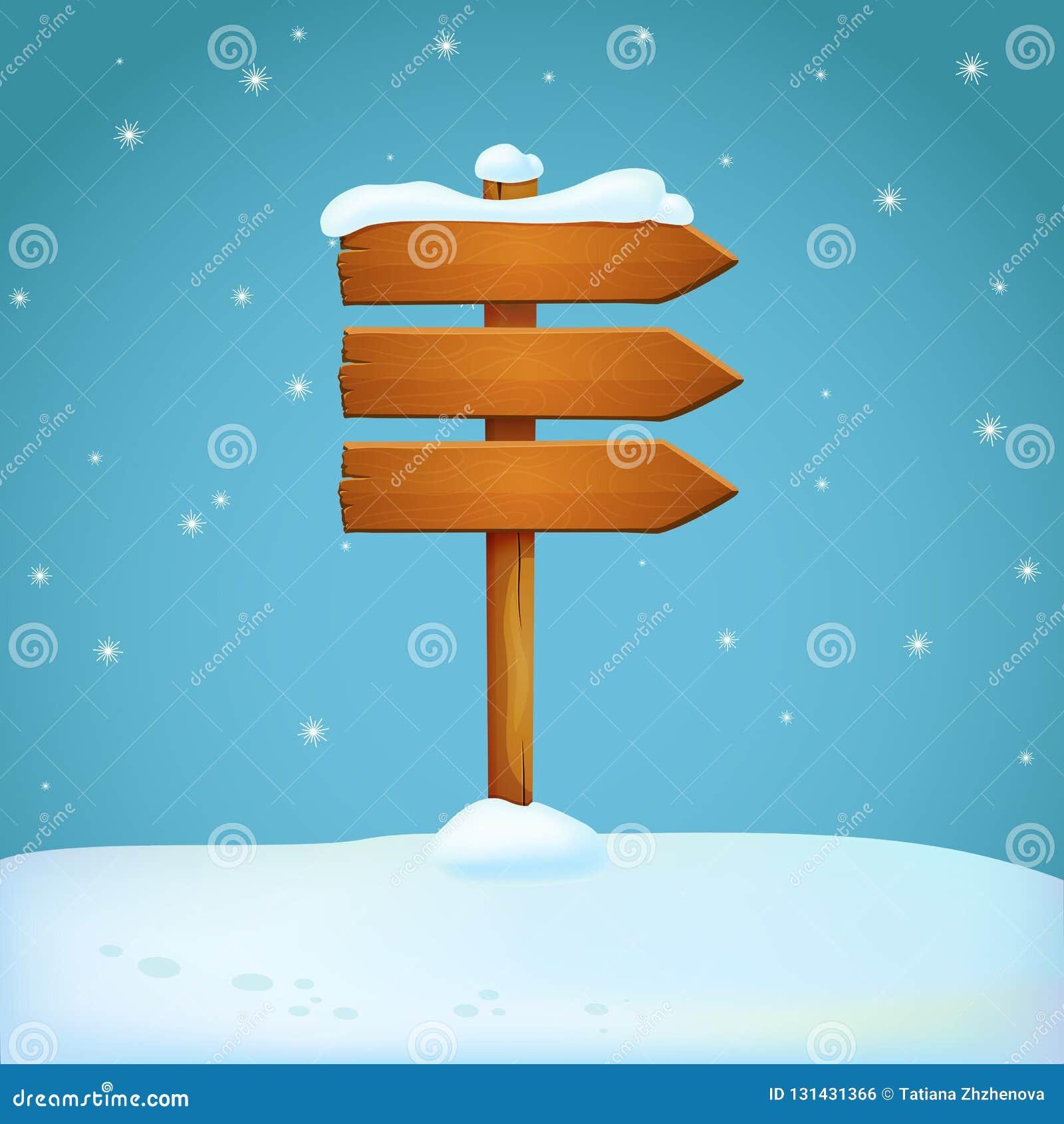 Vecchio cartello innevato di legno della freccia sulla terra nevosa Tre plance che indicano nella stessa direzione