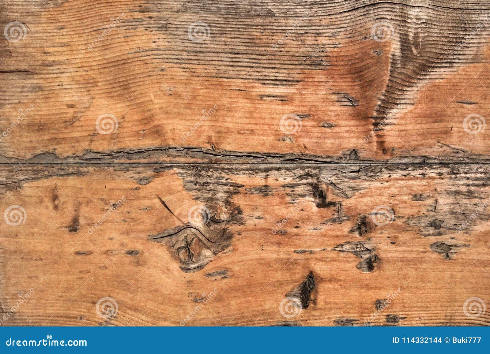 Vecchio dettaglio approssimativo annodato incrinato marcio stagionato di struttura di lerciume delle plance di Pinewood