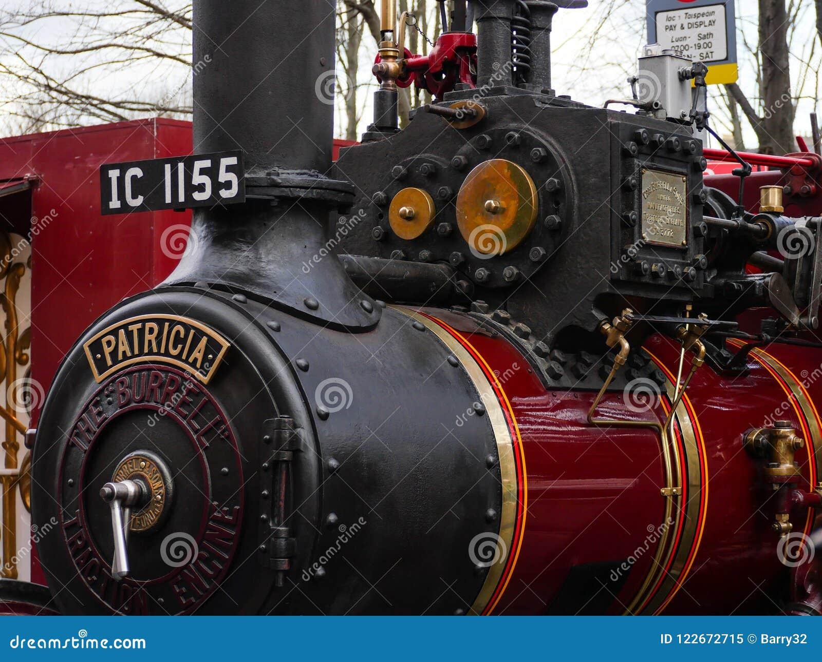 Vecchio 1917 dettaglio del motore di trazione a vapore di Burrell, Patricia