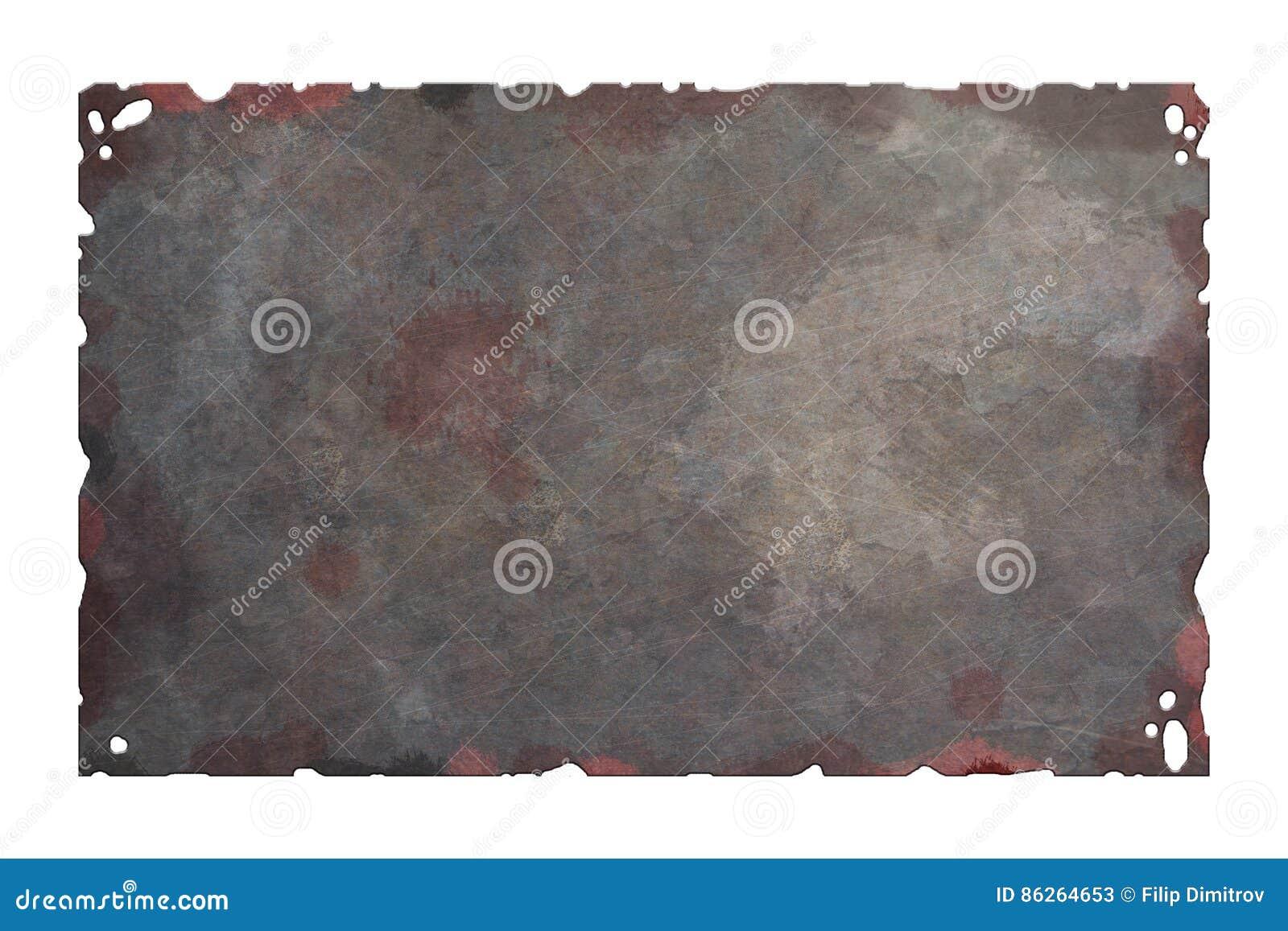 Vecchio di piastra metallica arrugginito