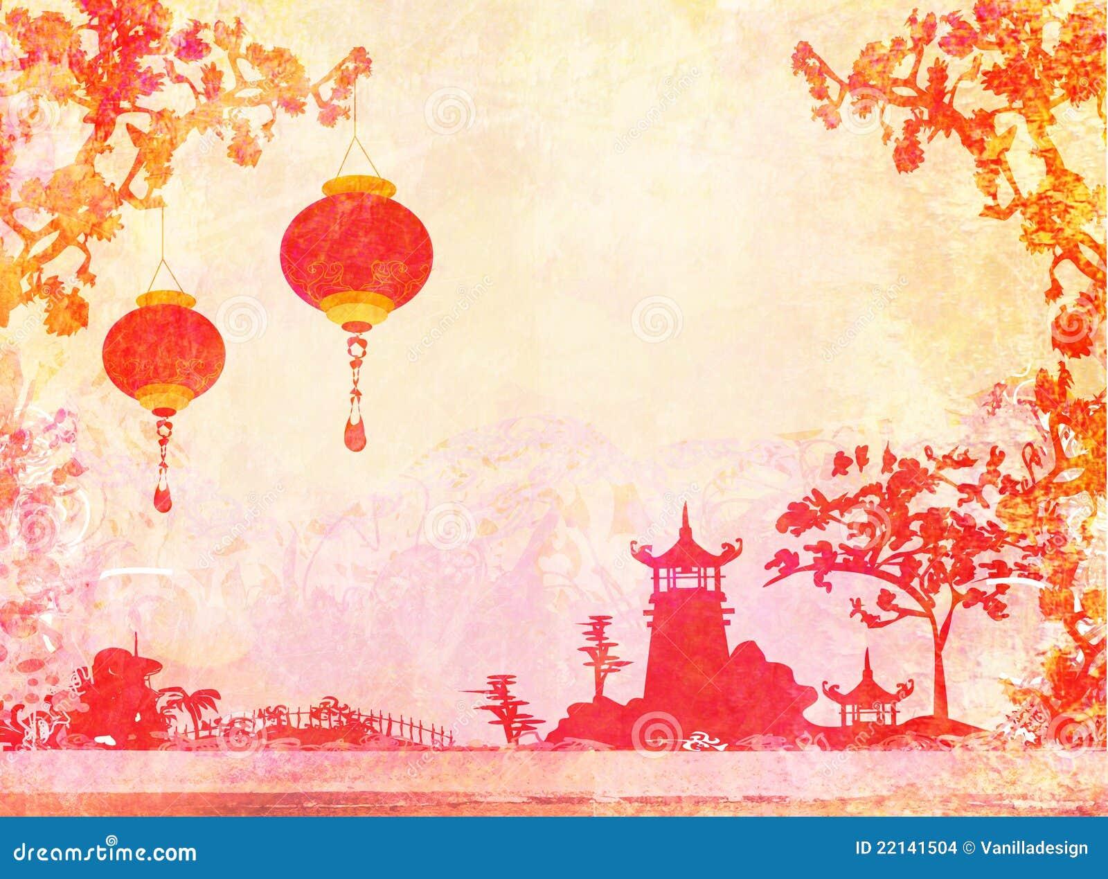 Vecchio documento con il paesaggio asiatico immagini stock for Oggetti tradizionali cinesi