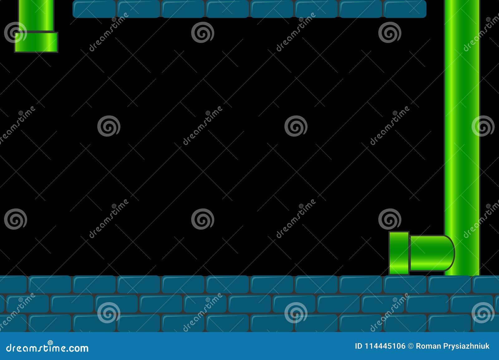 Vecchio fondo del video gioco della galleria Retro schermo scuro per il gioco con i mattoni e tubo o tubo Vettore