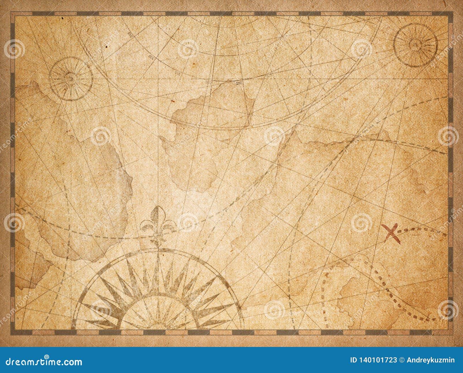 Vecchio fondo nascosto nautico della mappa del tesoro