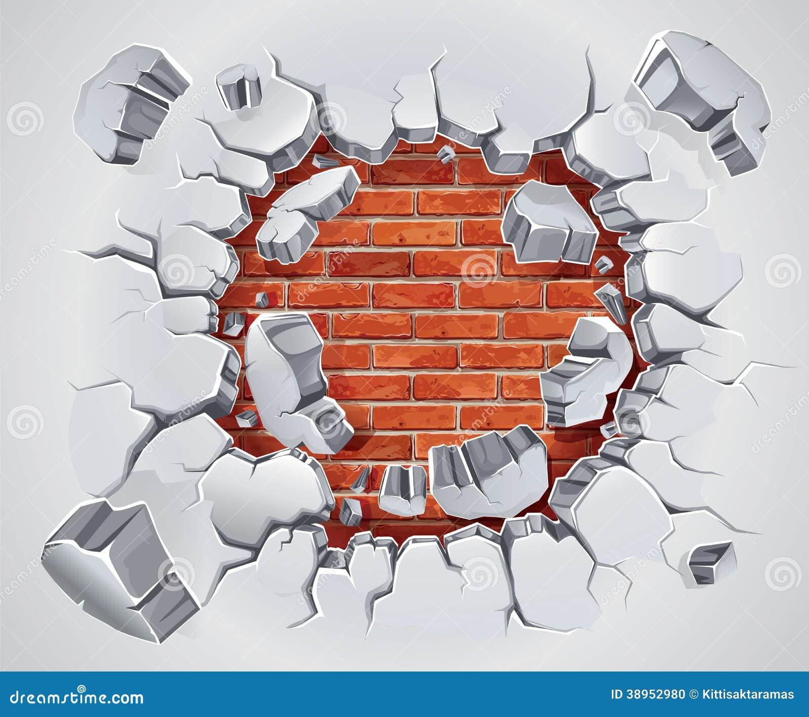 Vecchio gesso e danno rosso del muro di mattoni.