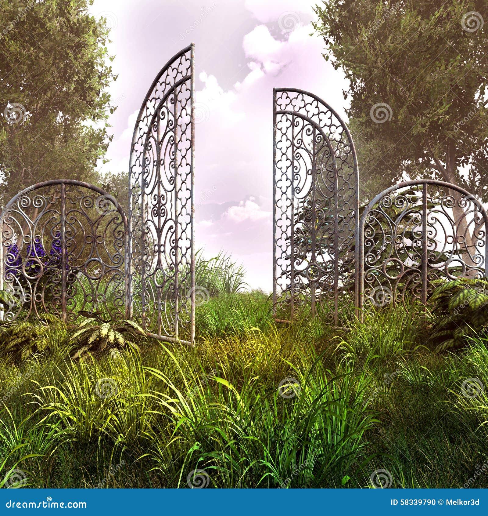 Vecchio ingresso arrugginito del giardino illustrazione di - Ingresso giardino ...