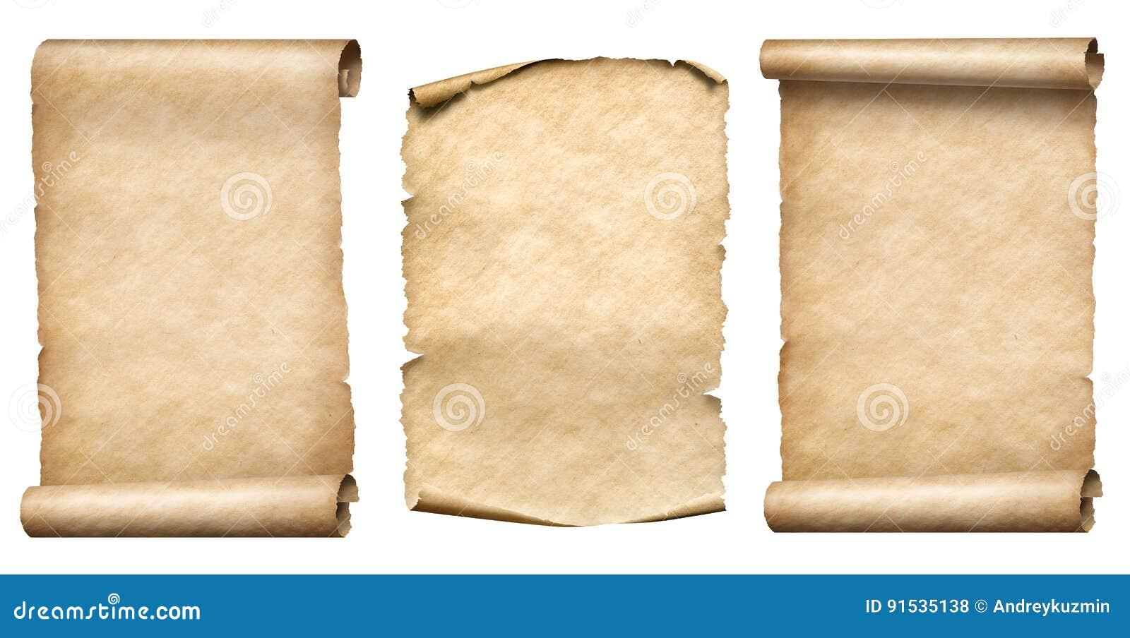 Vecchio insieme di carta dell illustrazione del realistc 3d delle pergamene o dei rotoli