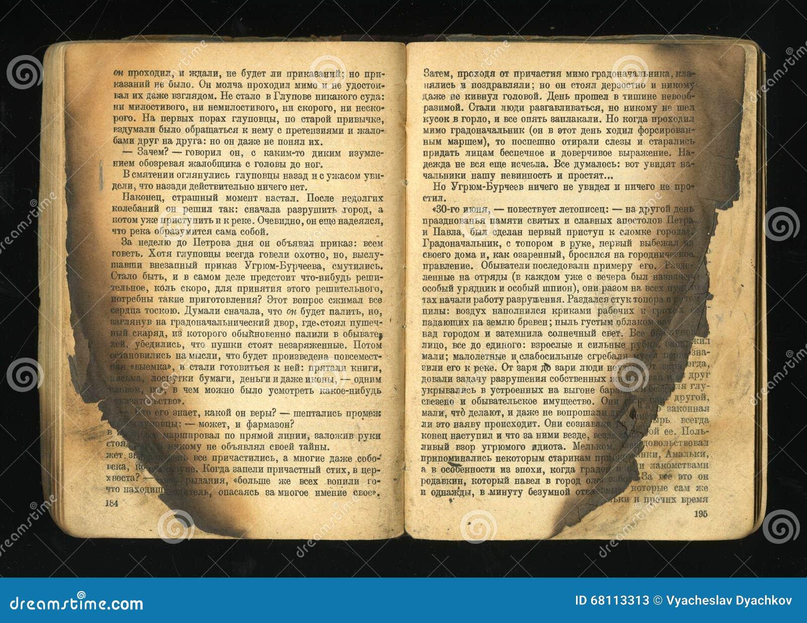 Vecchio libro con le foglie del fuoco del opalennye
