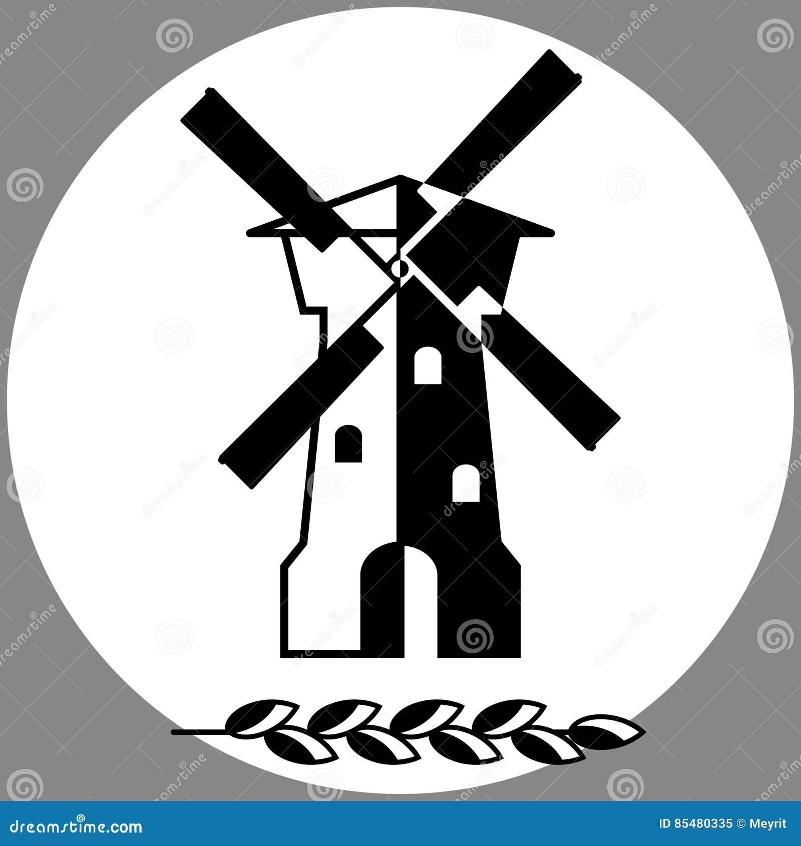 Vecchio mulino a vento rurale, illustrazione di vettore