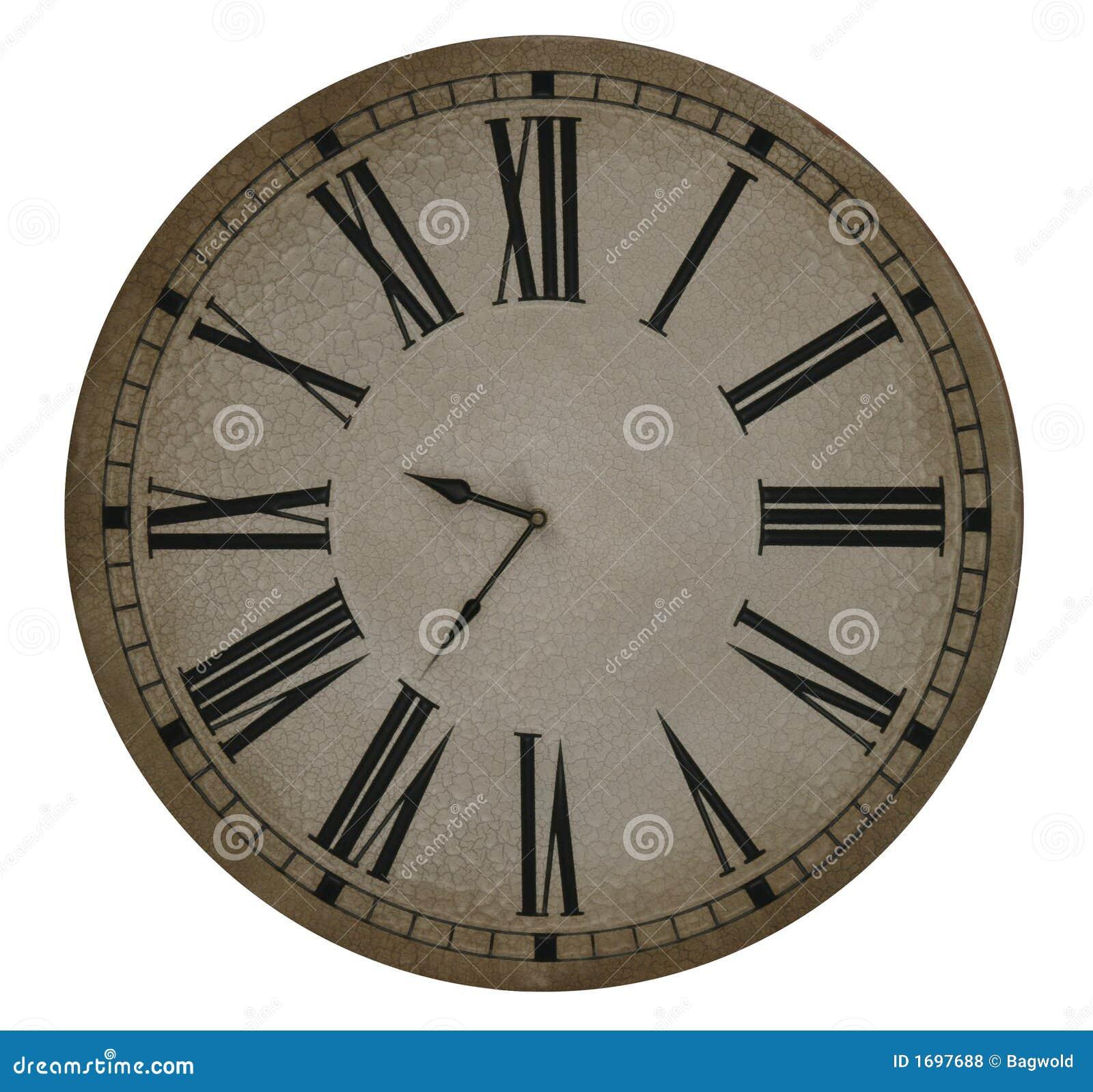 vecchio orologio con i numeri romani fotografie stock
