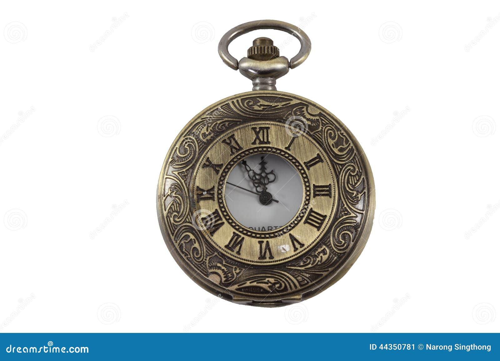 Vecchio orologio sulla terra della parte posteriore di bianco