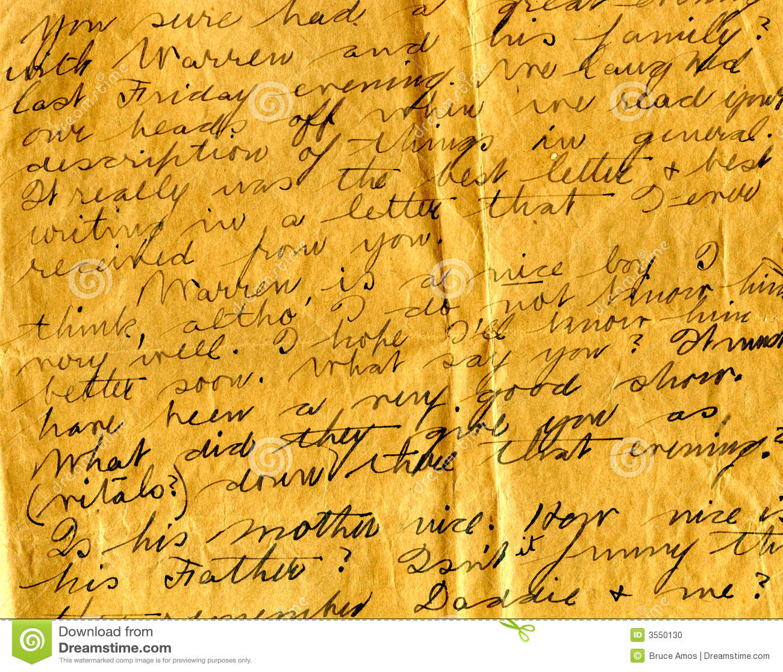Vecchio particolare della scrittura a mano della lettera
