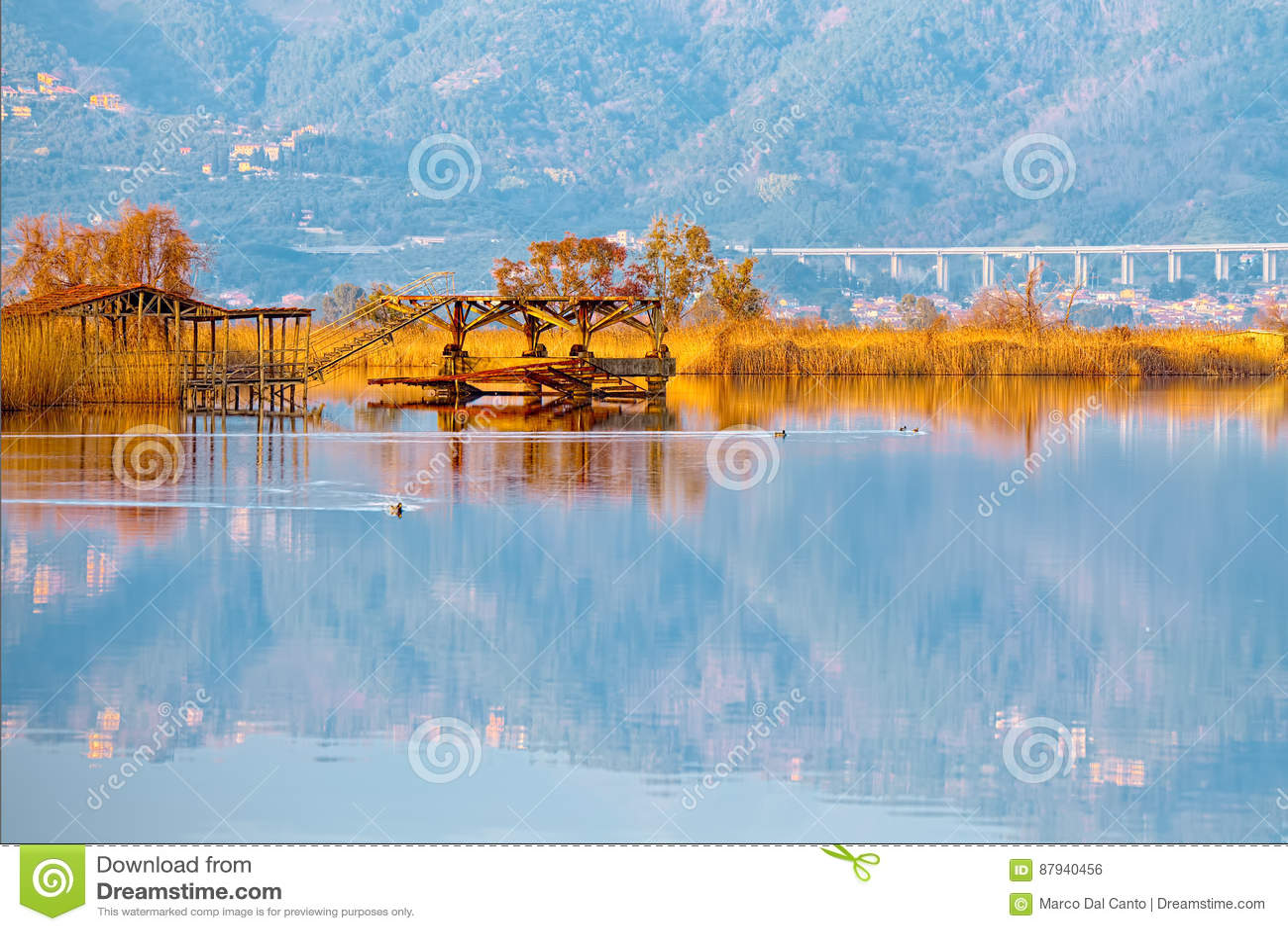 Vecchio Pilastro Di Pesca Sul Lago Massaciuccoli Torre Del Lago Puccini Fotografia Stock