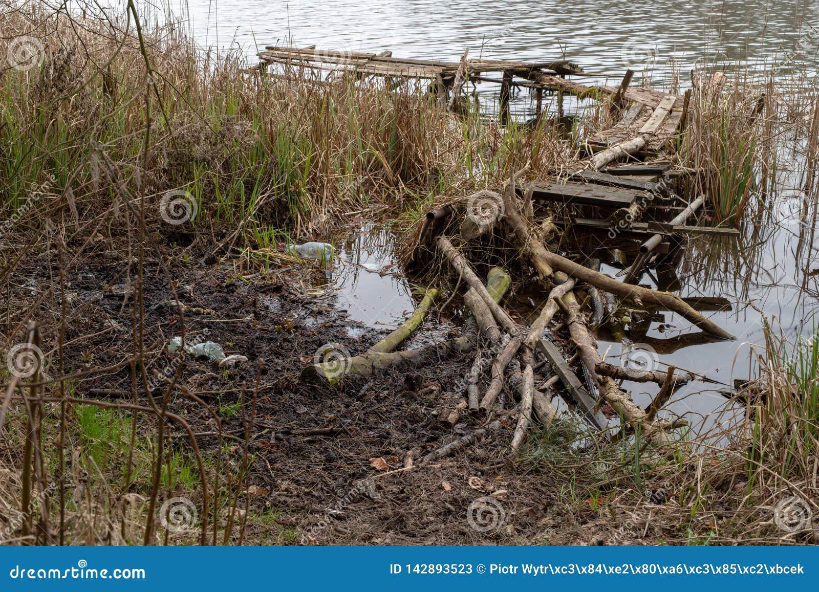 Vecchio ponte da pesca rotto di legno Posto inattivo per la pesca nel lago