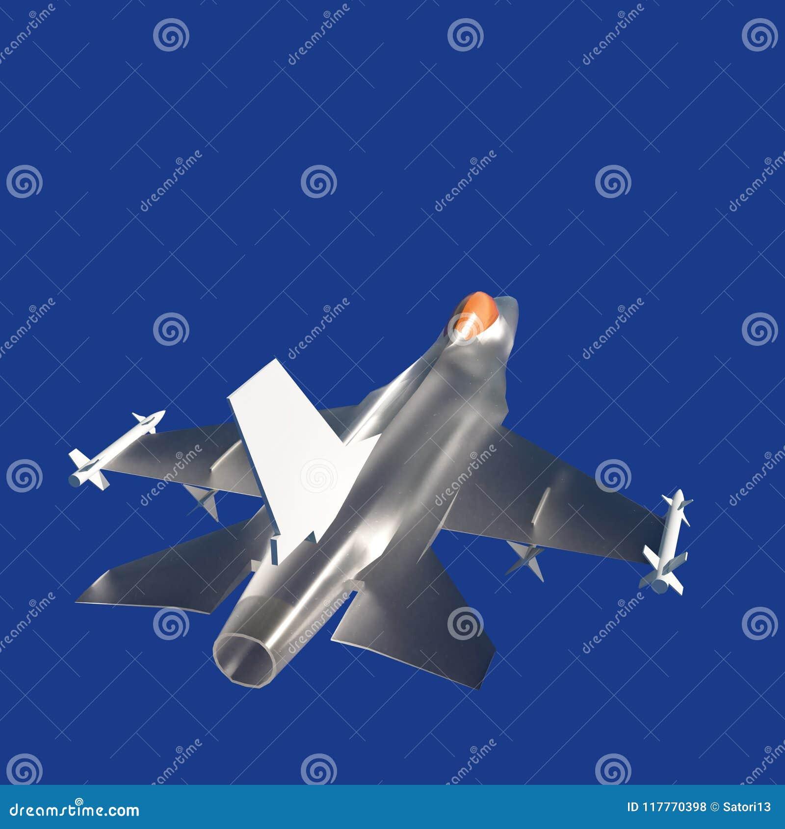 Vechter het straal vliegen tegen een blauwe hemel, 3d illustratie