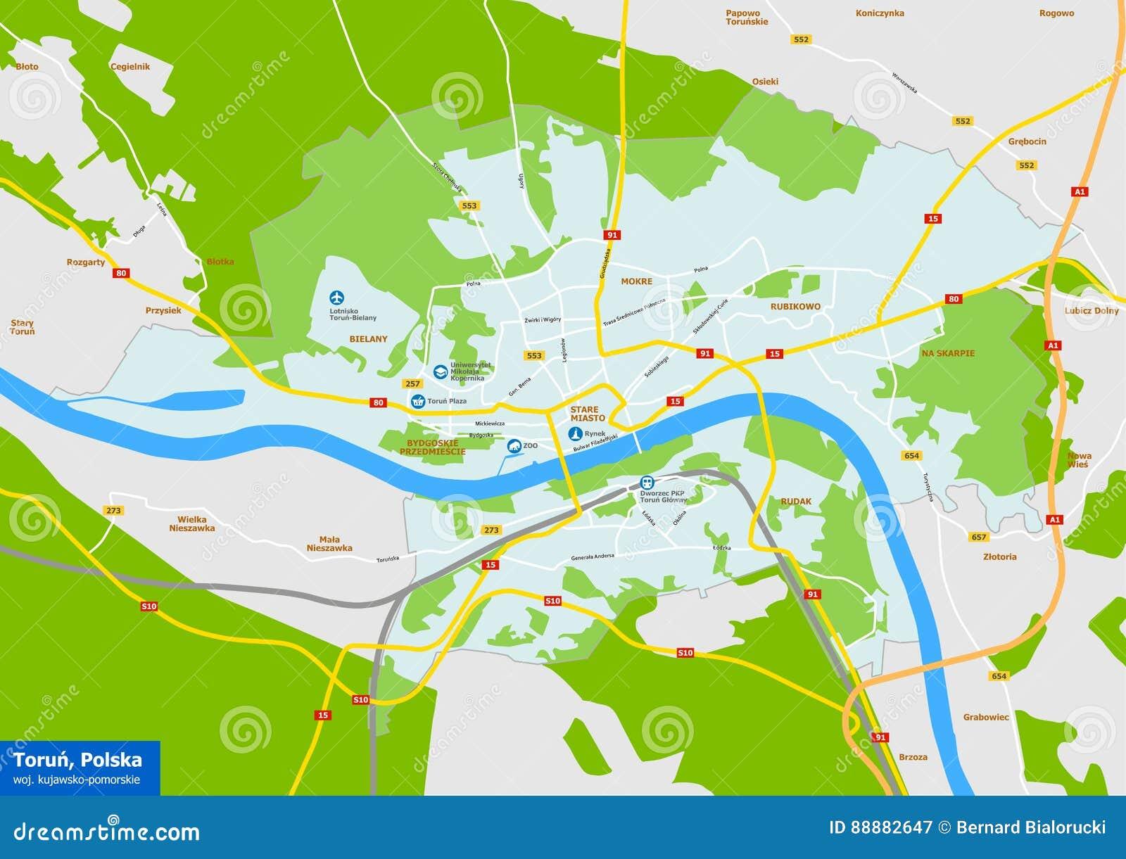 Vecor Karte Von Torun Stadt Polen Kujawsko Pomorskie Provinz