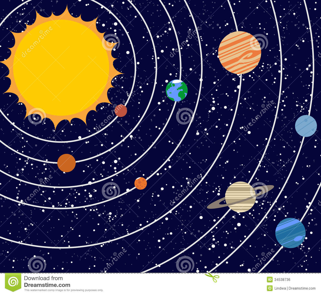 Vecotr Solar System Illustration Stock Vector - Image: 34538736