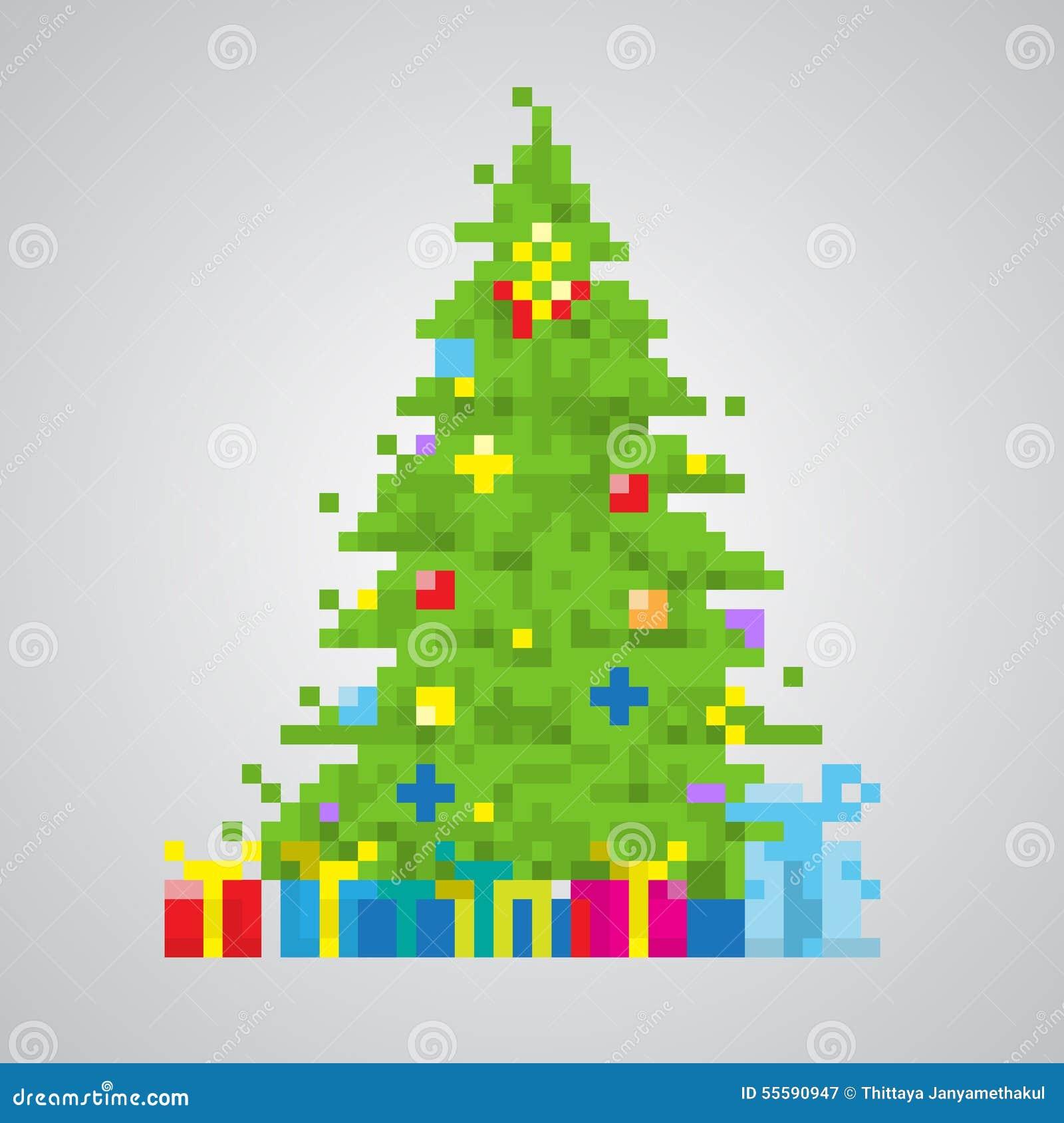 Vecteur à 8 Bits De Style De Pixel D Arbre De Noël