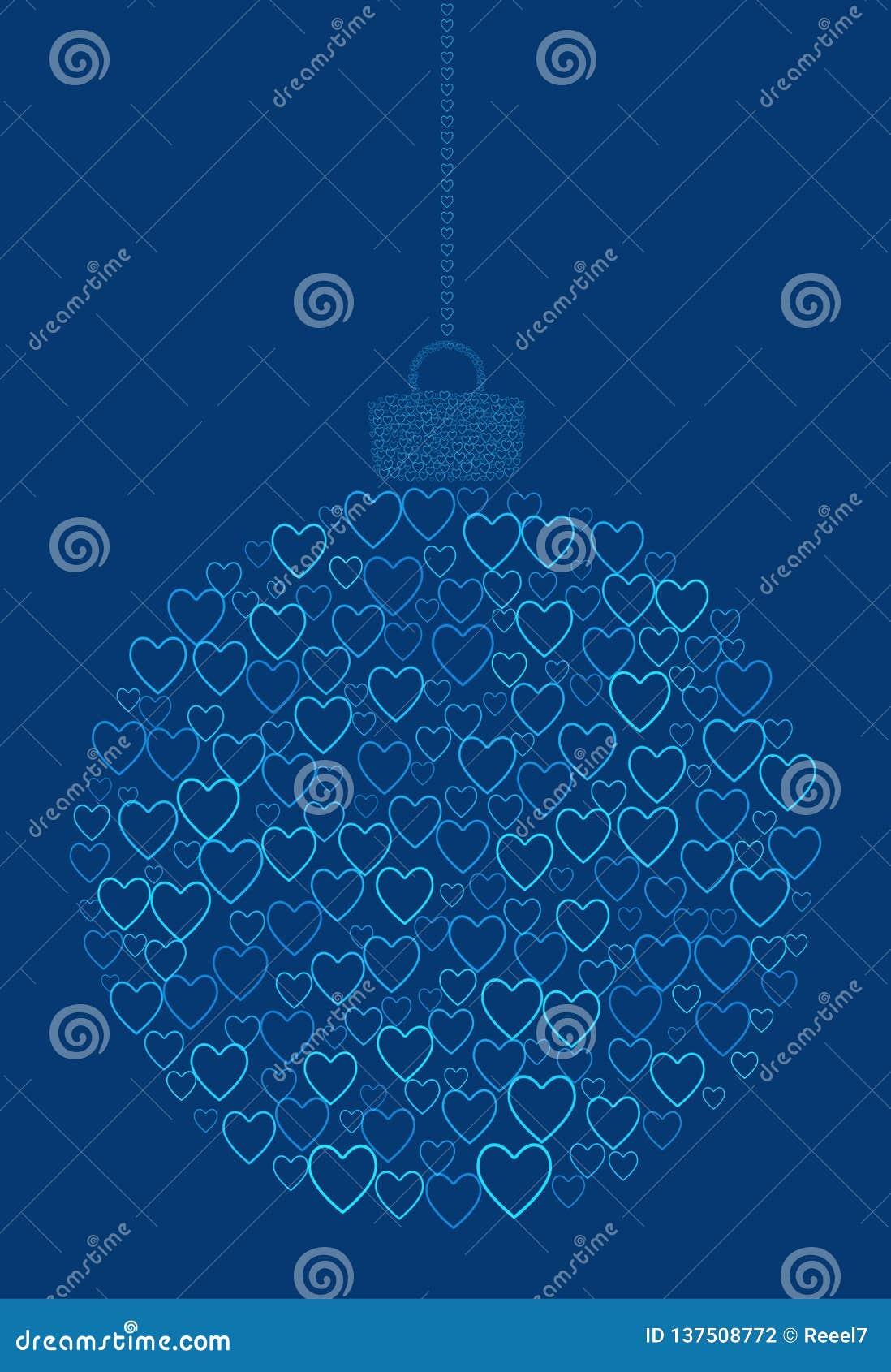 Vecteur accrochant la boule abstraite de Noël se composant de la ligne icônes de coeur sur le fond bleu