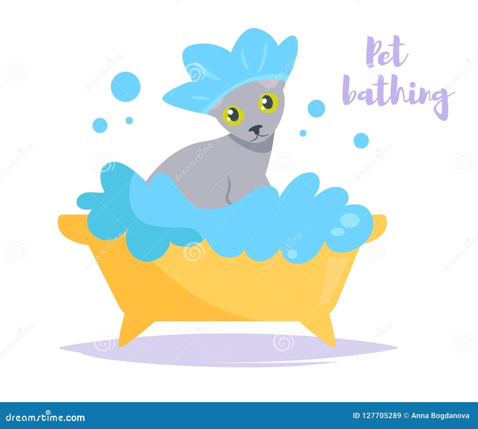 Vecteur animal de bain cartoon Art d isolement sur le fond blanc À plat propre