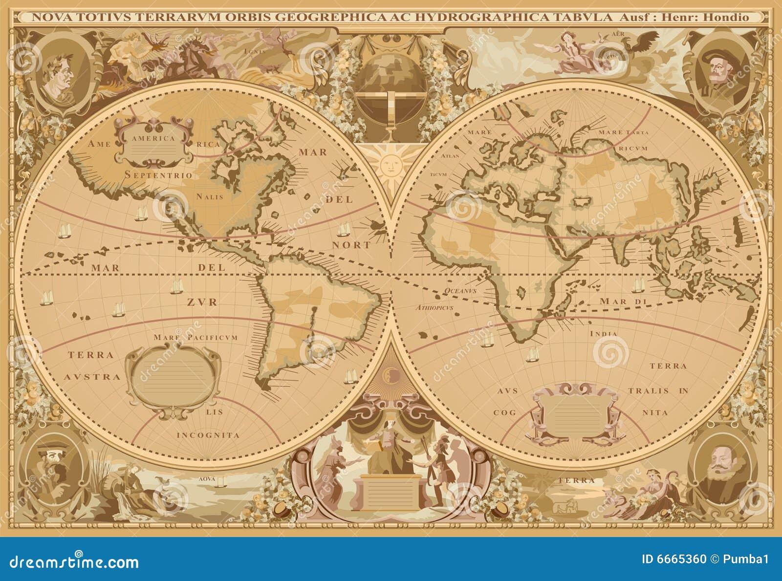 Vecteur antique de carte du monde de type
