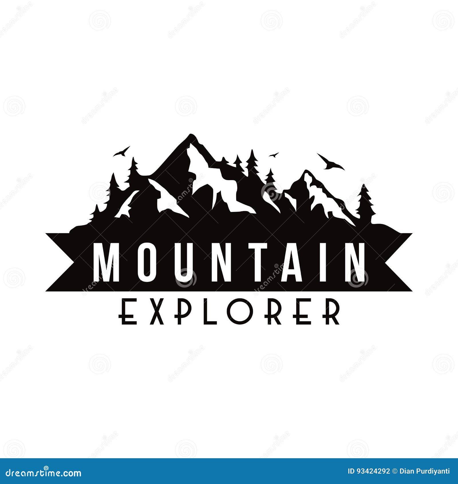 Vecteur blanc de calibre d insigne d Adventure Black And d explorateur de montagne