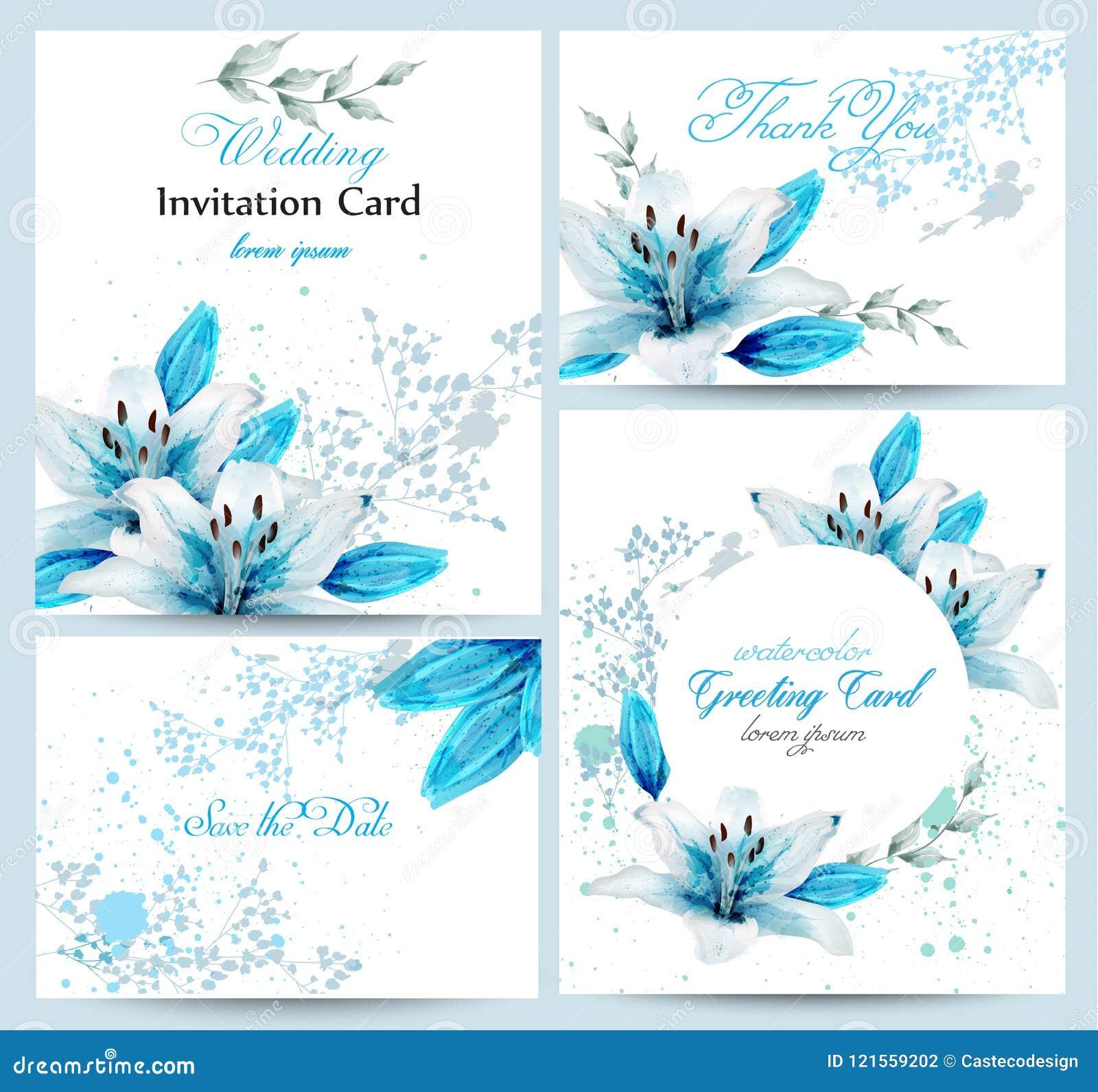 Vecteur bleu de cartes en liasse de fleur de fleur d aquarelle de lis Affiche de salutation de vintage, invitation de mariage, me