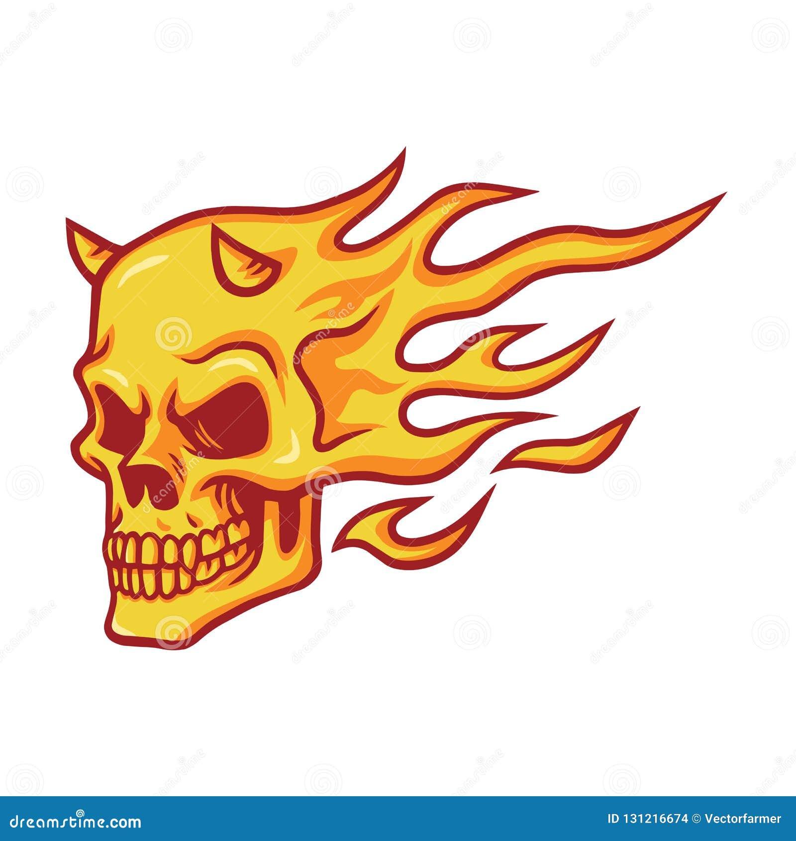 Vecteur brûlant du feu de crâne