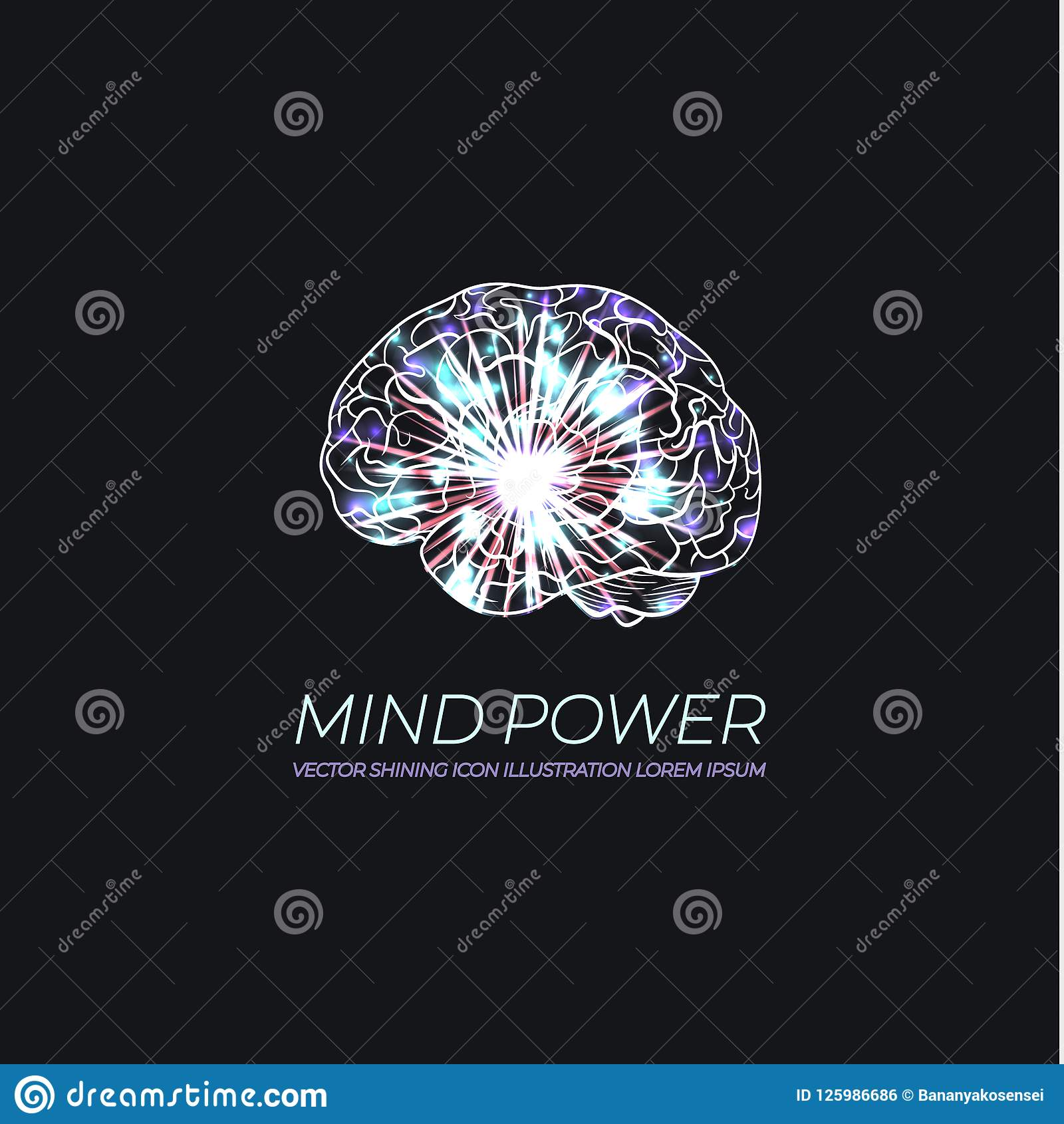 Vecteur Brain Illustration rougeoyant, logo au néon, image scientifique de cerveau, Intellegence artificiel