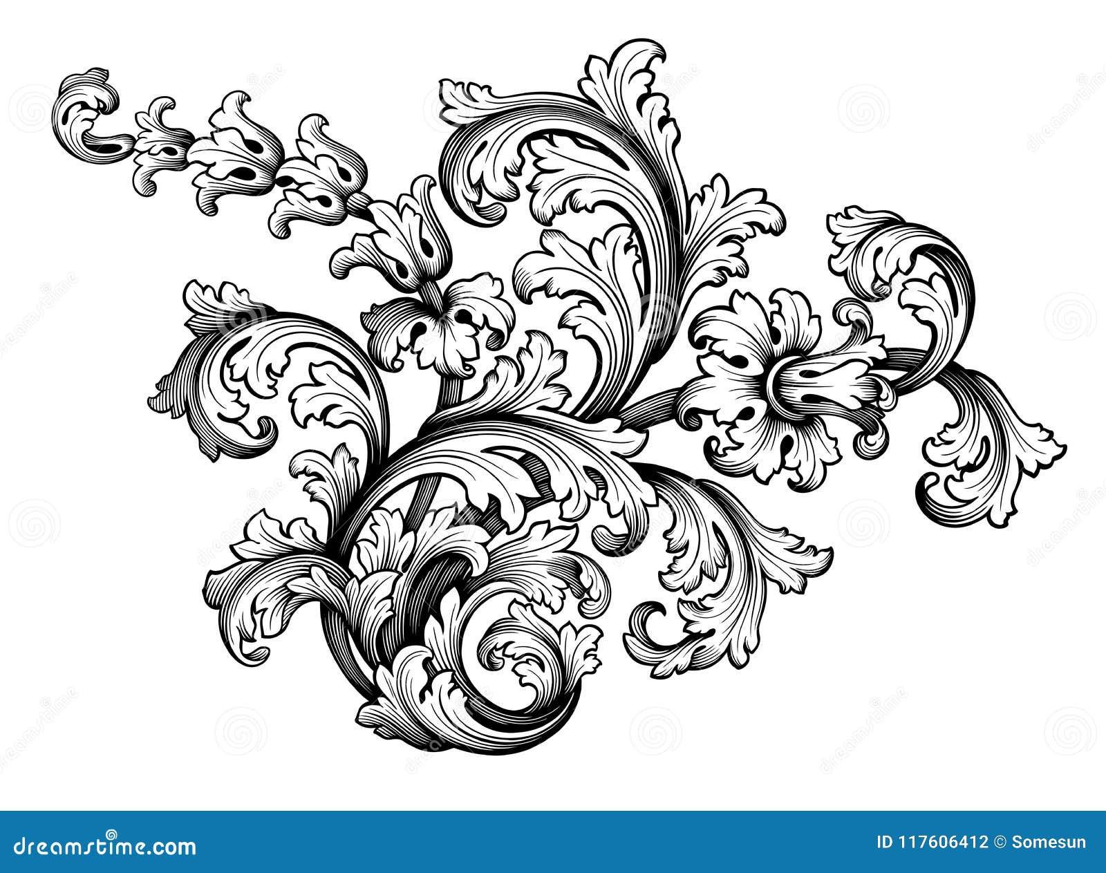 vecteur calligraphique de r tro tatouage de mod le grav par rouleau victorien baroque d. Black Bedroom Furniture Sets. Home Design Ideas