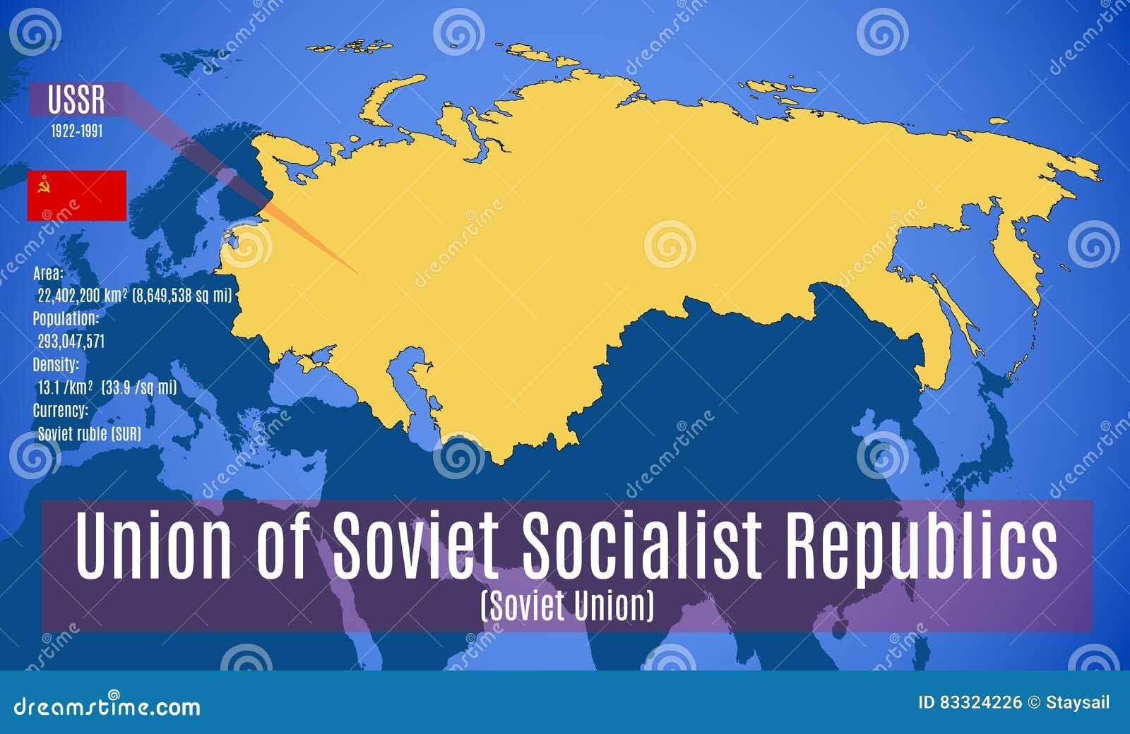 Carte Urss.Vecteur Carte De Sschematic De L Union Sovietique Urss Illustration