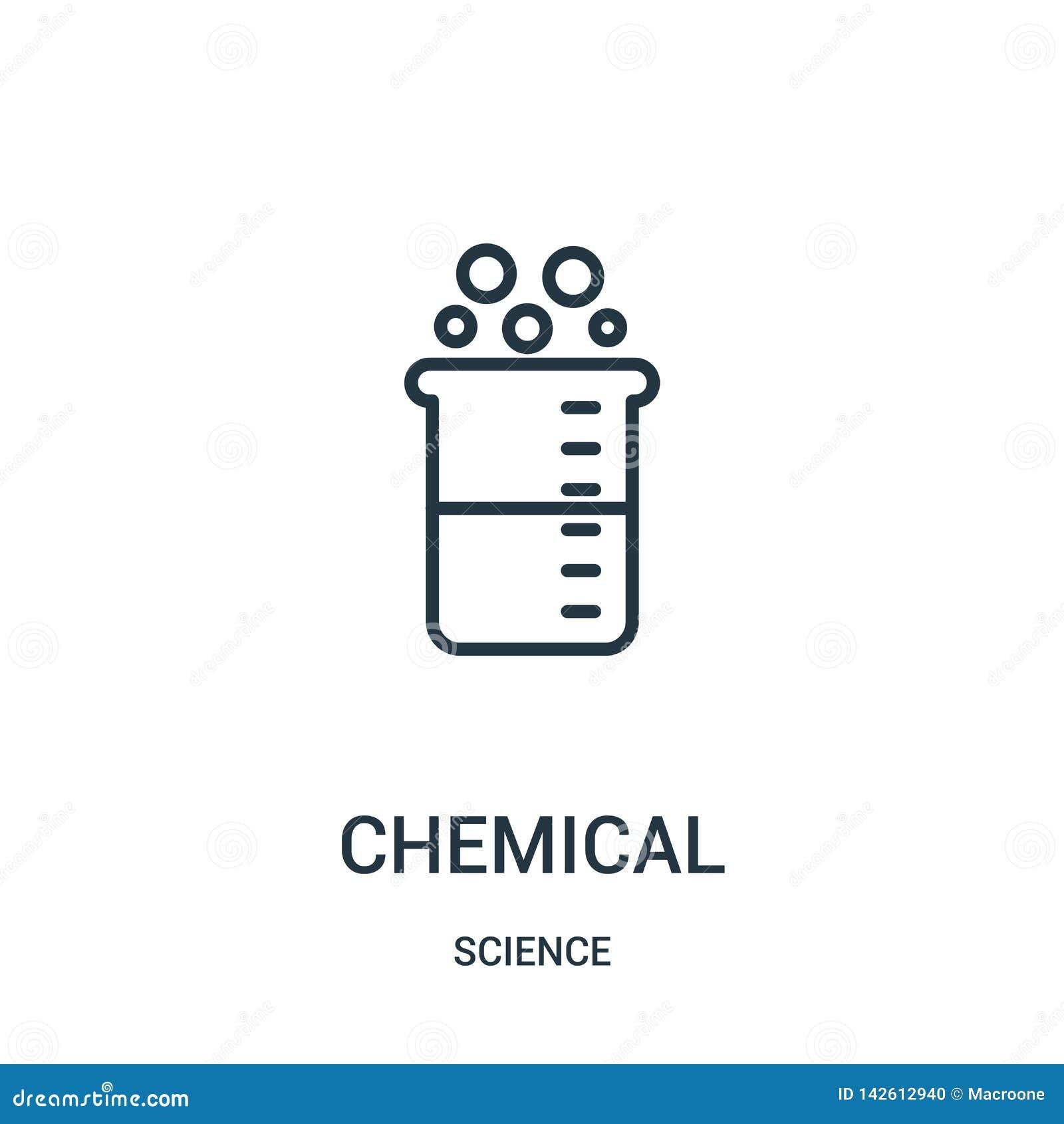 Vecteur chimique d ic?ne de collection de la science Ligne mince illustration chimique de vecteur d ic?ne d ensemble Symbole lin?