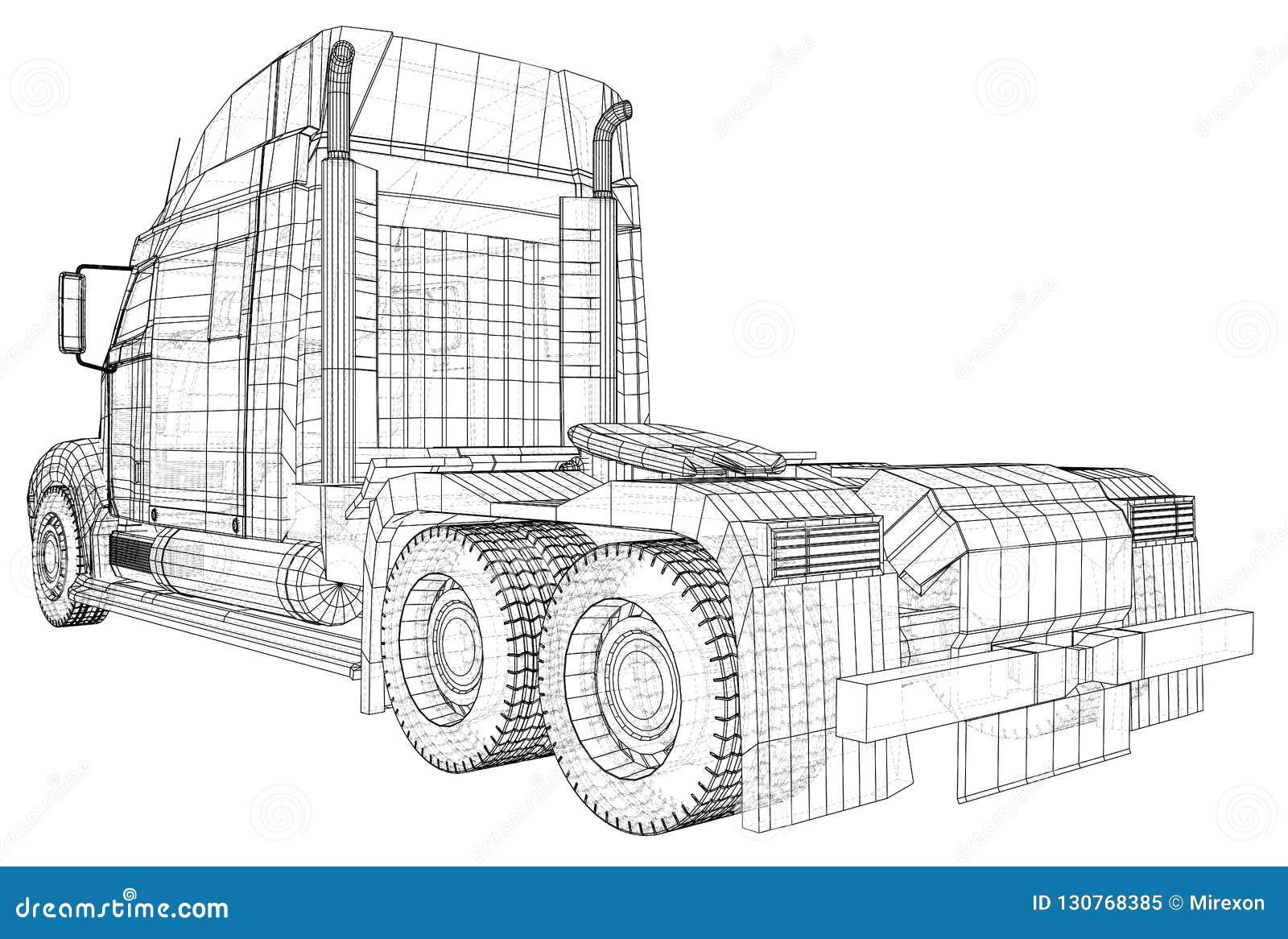 Vecteur commercial de camion de cargaison de la livraison pour l identité de marque et publicité d isolement Illustration créée d