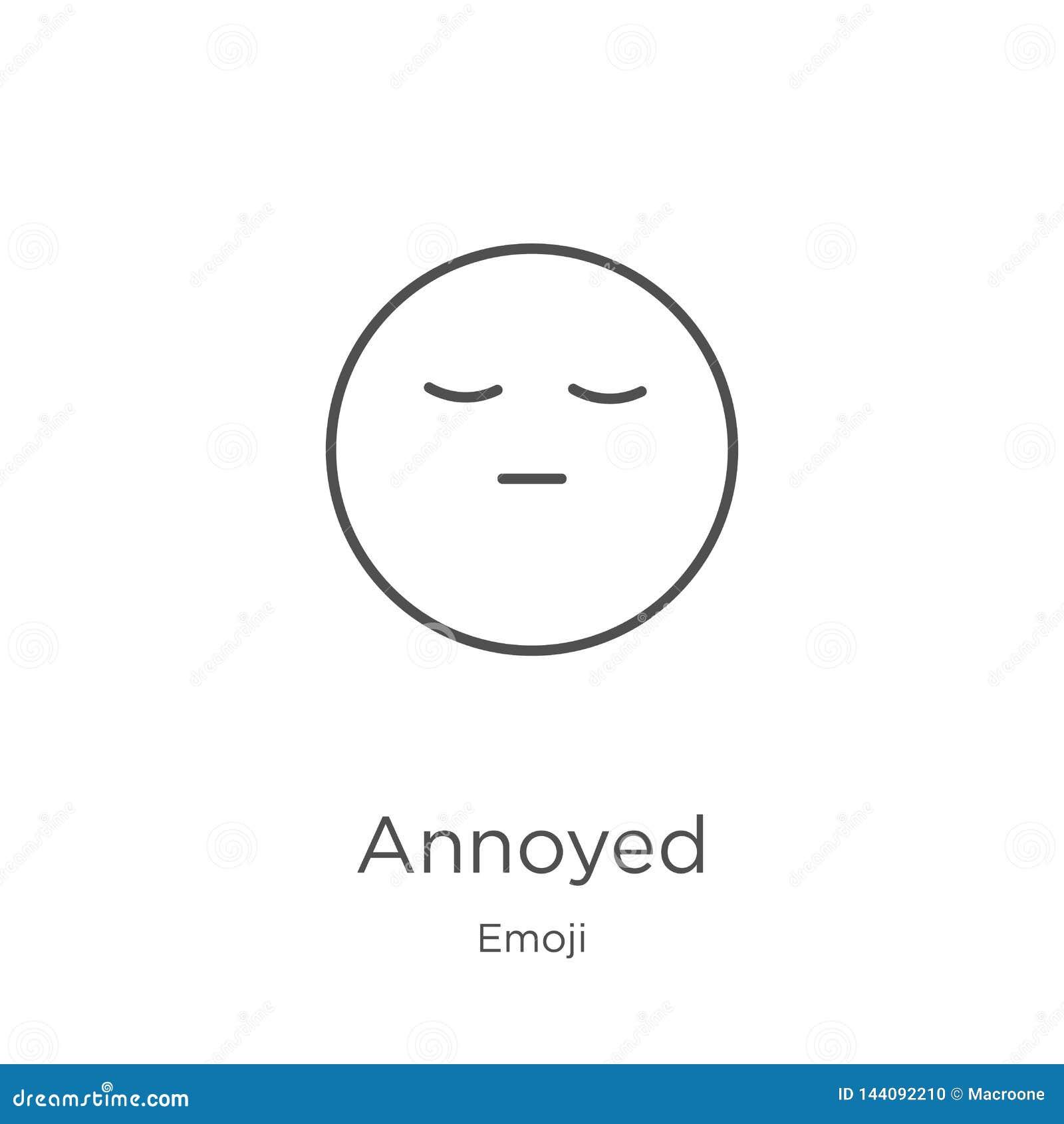 Vecteur contrarié d icône de collection d emoji Ligne mince illustration contrariée de vecteur d icône d ensemble Le contour, lig