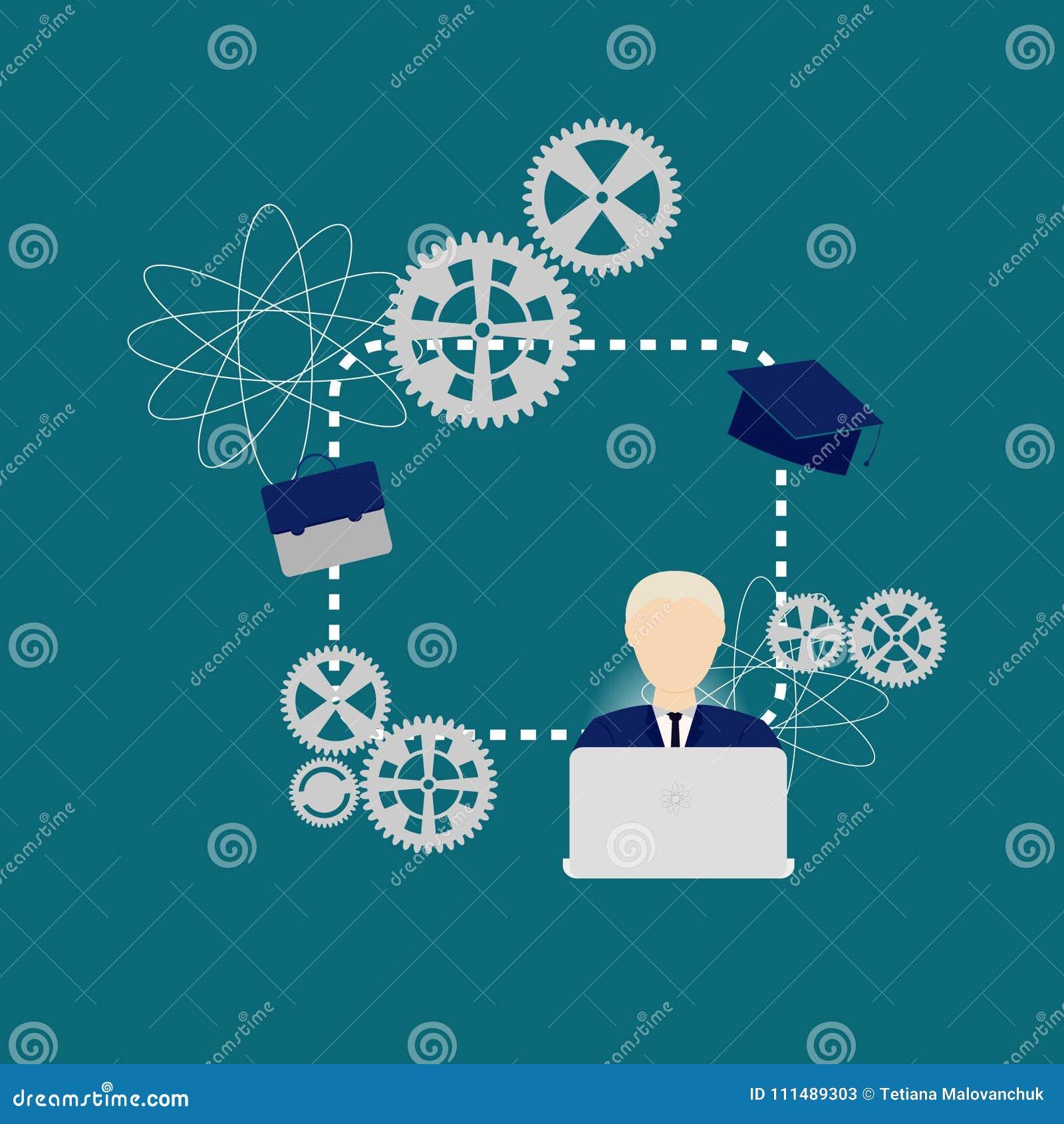 Vecteur créatif à la maison, fille étudiant à l ordinateur