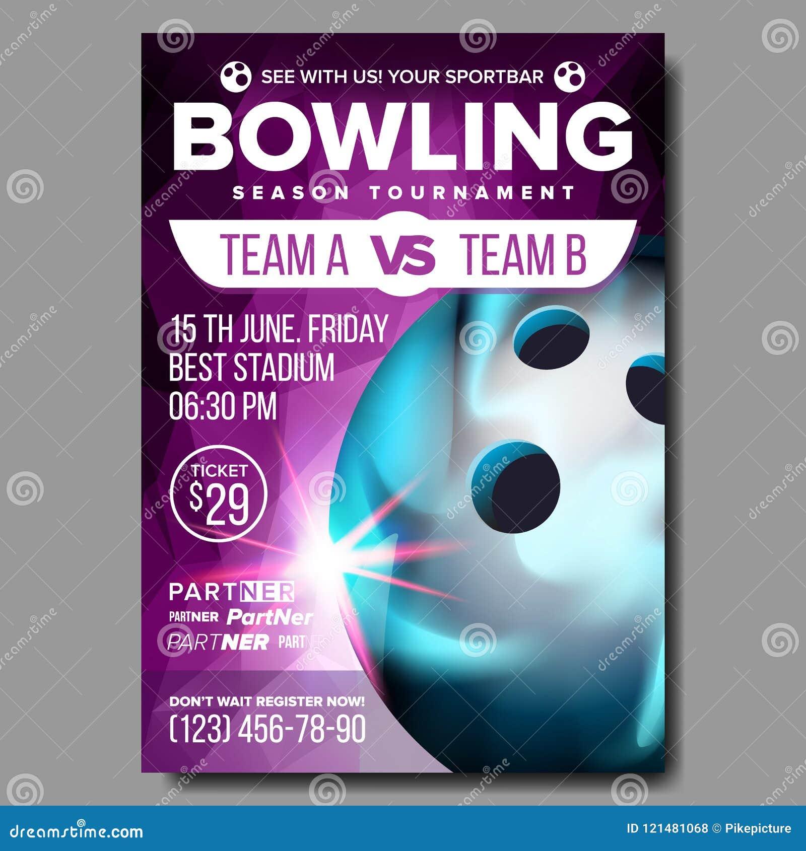 Vecteur d affiche de bowling Annonce de manifestation sportive La publicité de bannière de club Ligue professionnelle Invitation