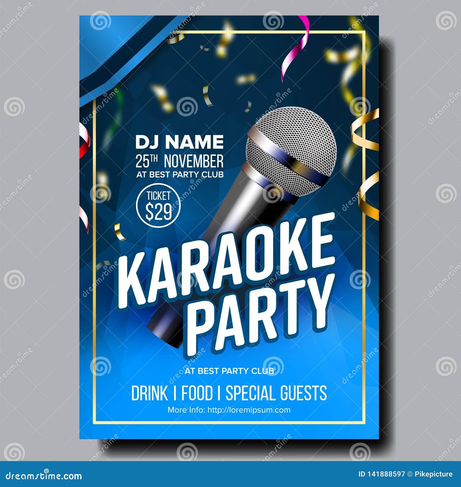 Vecteur d affiche de karaoke Chantez la chanson Événement de danse de karaoke Studio de cru Disque de musical Objet d émission Co