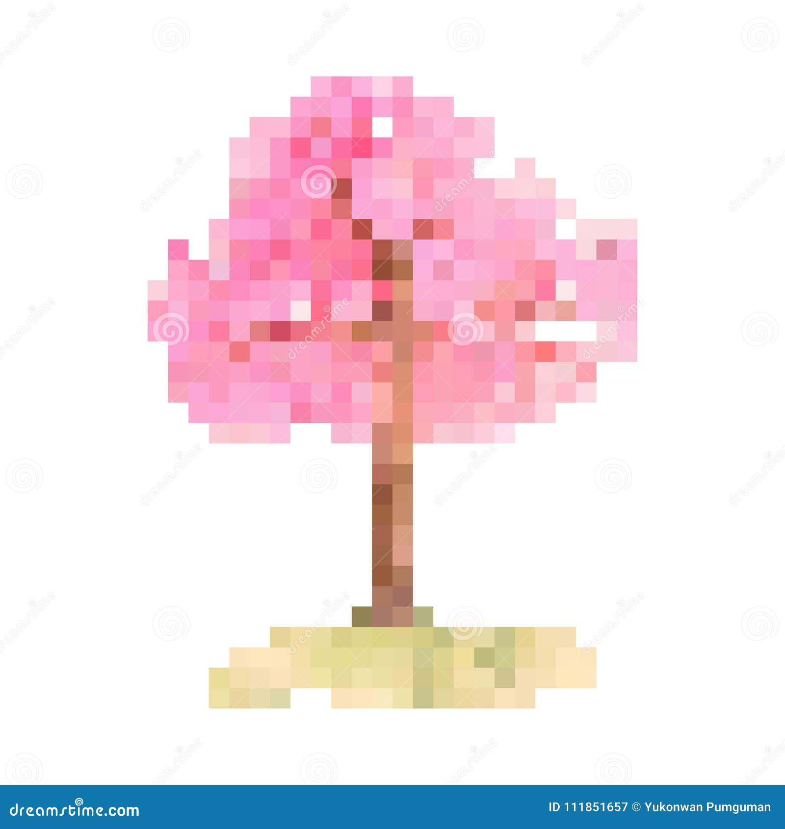 Vecteur Dart De Pixel Darbre De Fleurs De Cerisier Sakura