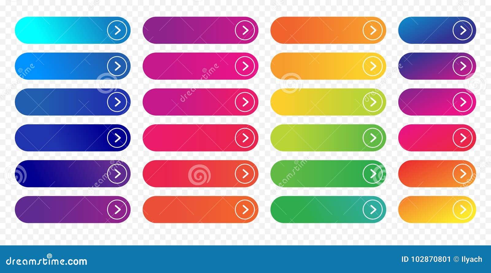 Vecteur d ensemble de gradient de couleur d icône de calibre plat de conception de bouton de Web prochain