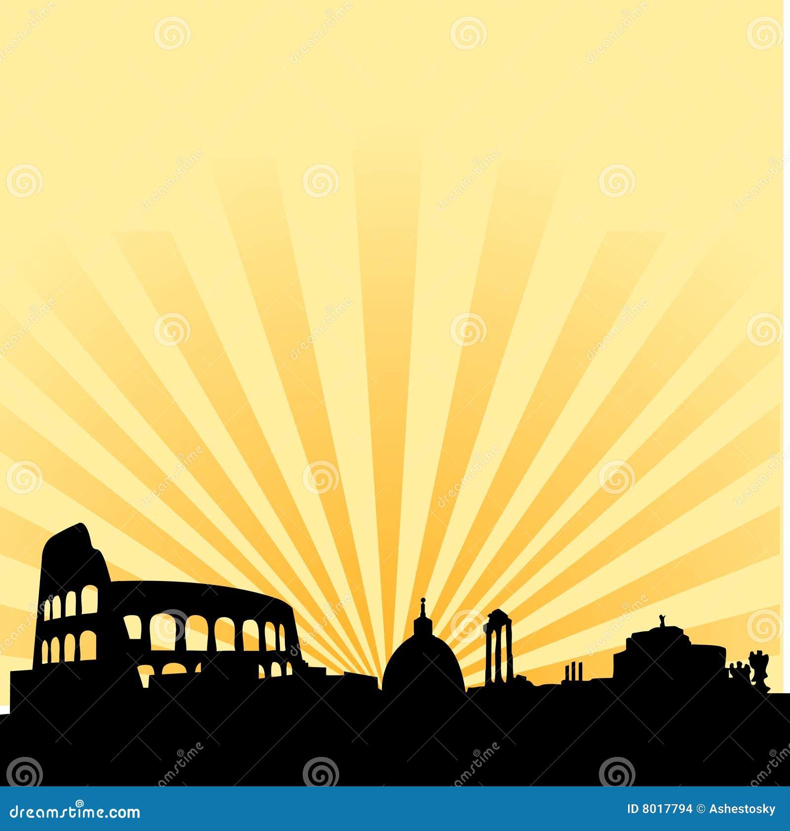 Vecteur d horizon de silhouette de Rome