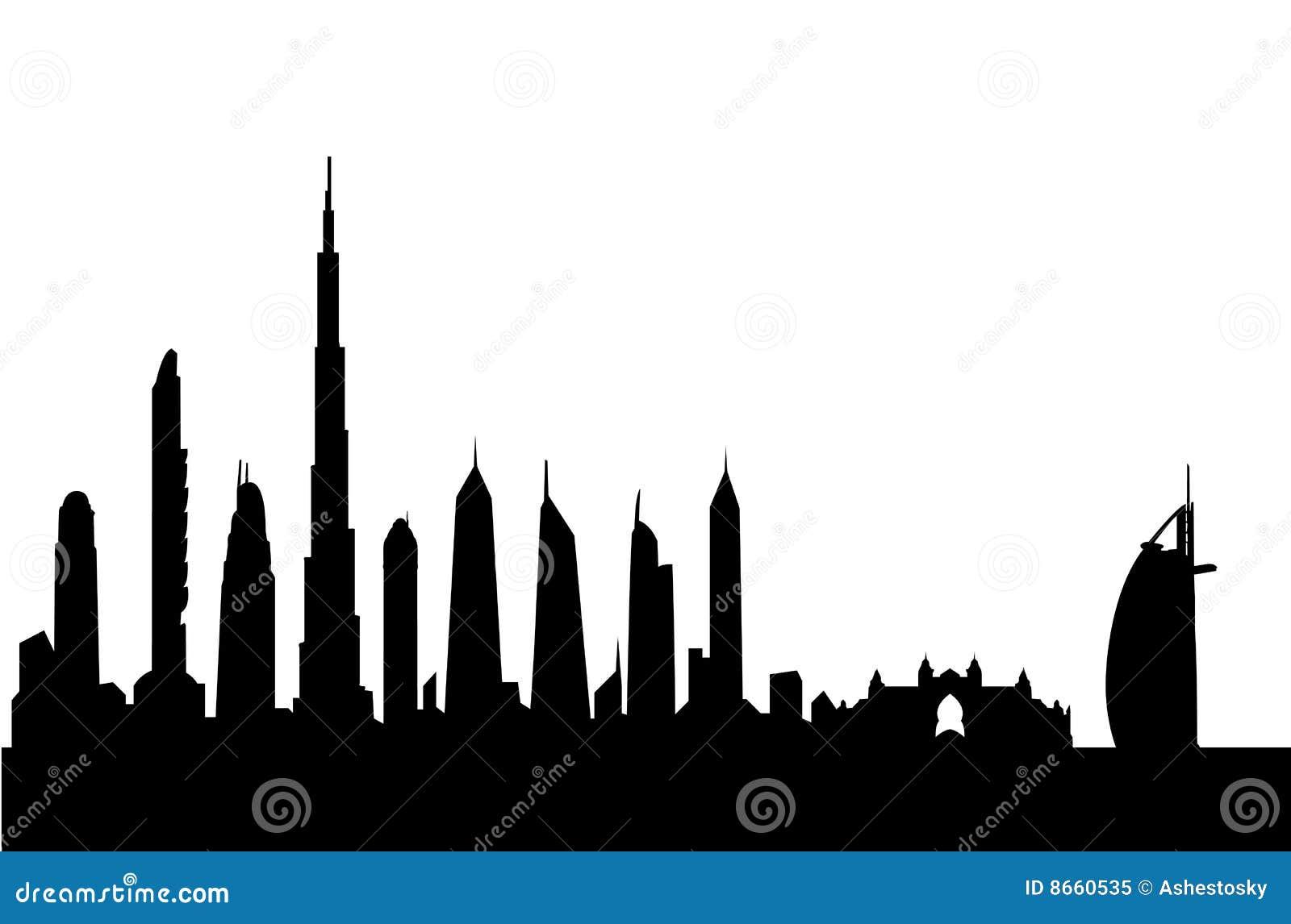 Vecteur d horizon de silhouette du Dubaï