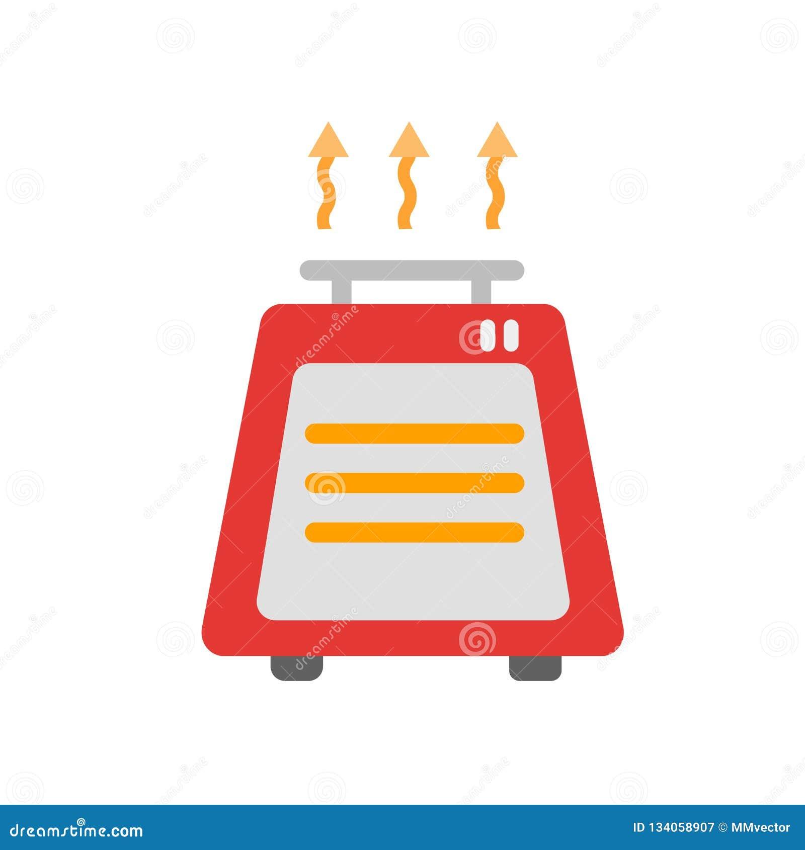 Vecteur d icône d appareil de chauffage d isolement sur le fond blanc, signe d appareil de chauffage, symboles de temps
