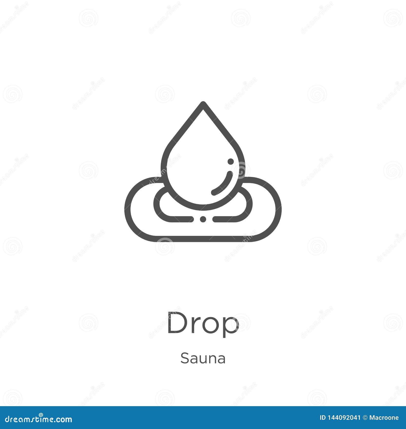 Vecteur d icône de baisse de collection de sauna Ligne mince illustration de vecteur d icône d ensemble de baisse Contour, ligne
