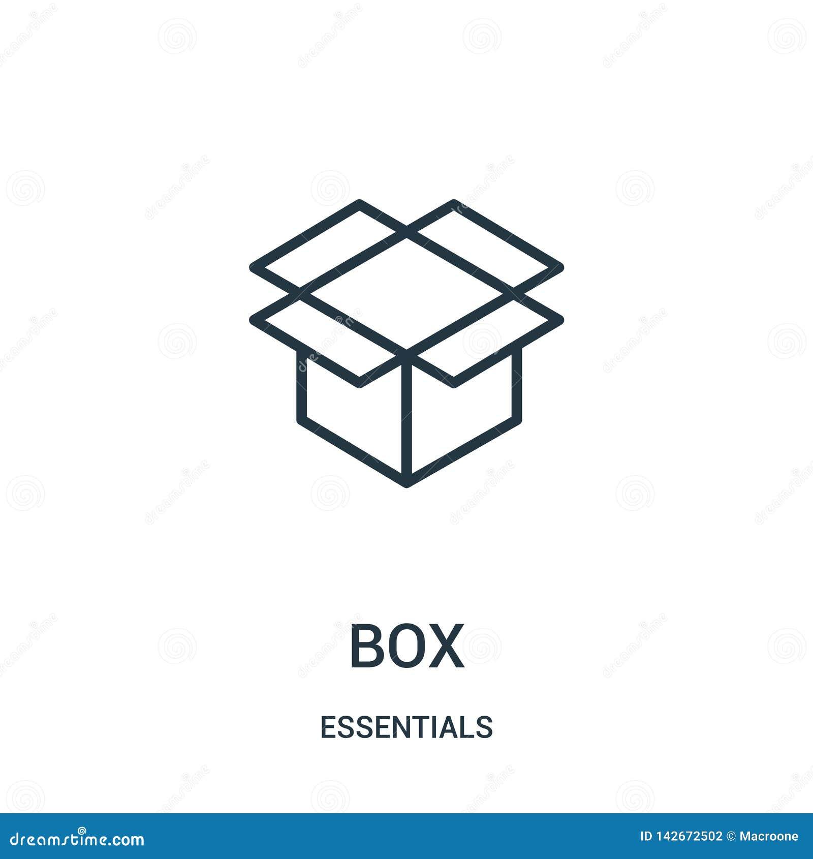 Vecteur d icône de boîte de collection de bases Ligne mince illustration de vecteur d icône d ensemble de boîte Symbole linéaire