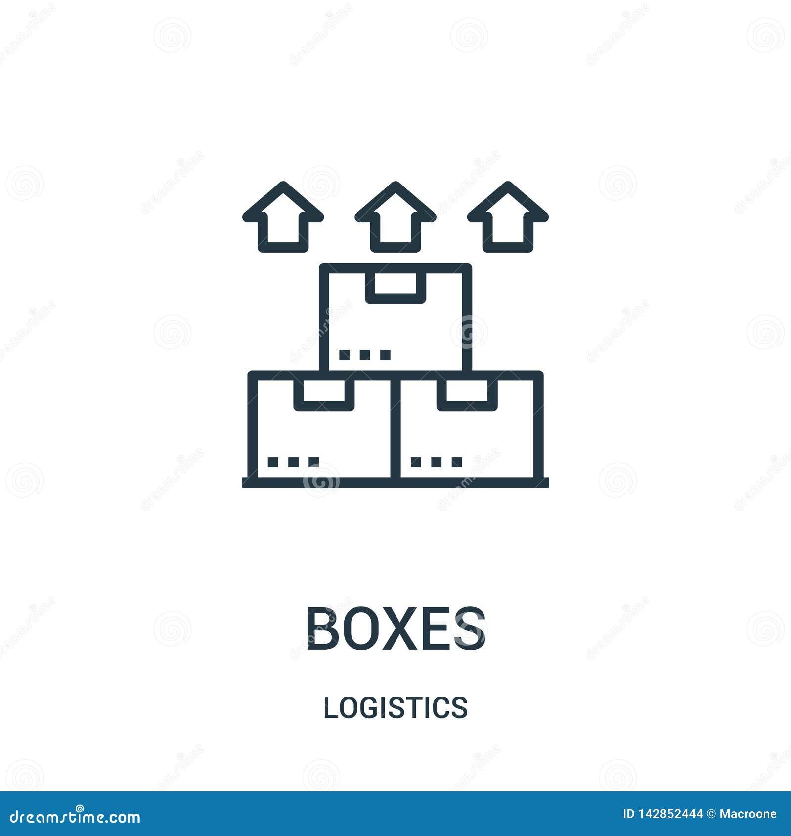 Vecteur d icône de boîtes de collection de logistique Ligne mince illustration de vecteur d icône d ensemble de boîtes Symbole li